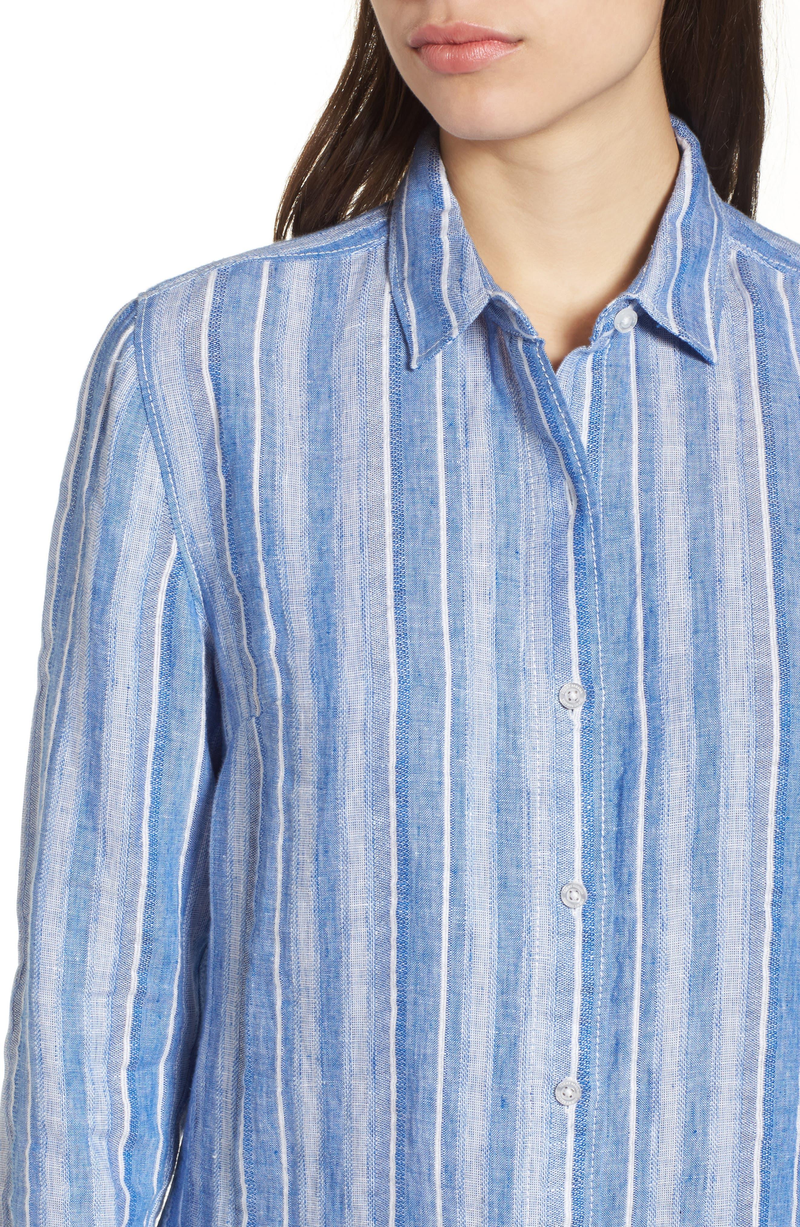 Santiago Stripe Linen Blend Shirt,                             Alternate thumbnail 4, color,                             Blue Sea