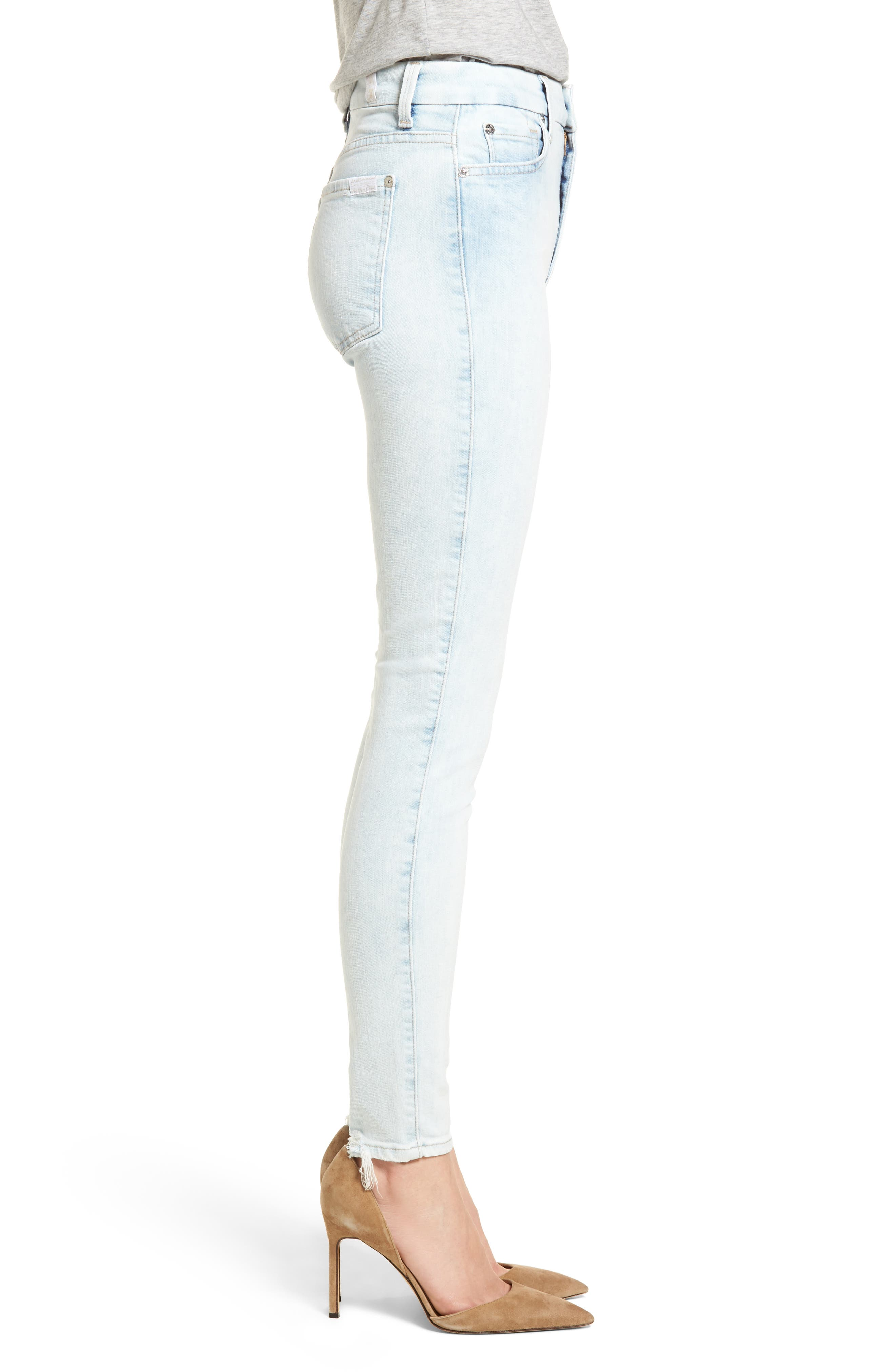 High Waist Ankle Skinny Jeans,                             Alternate thumbnail 3, color,                             Bleached Out