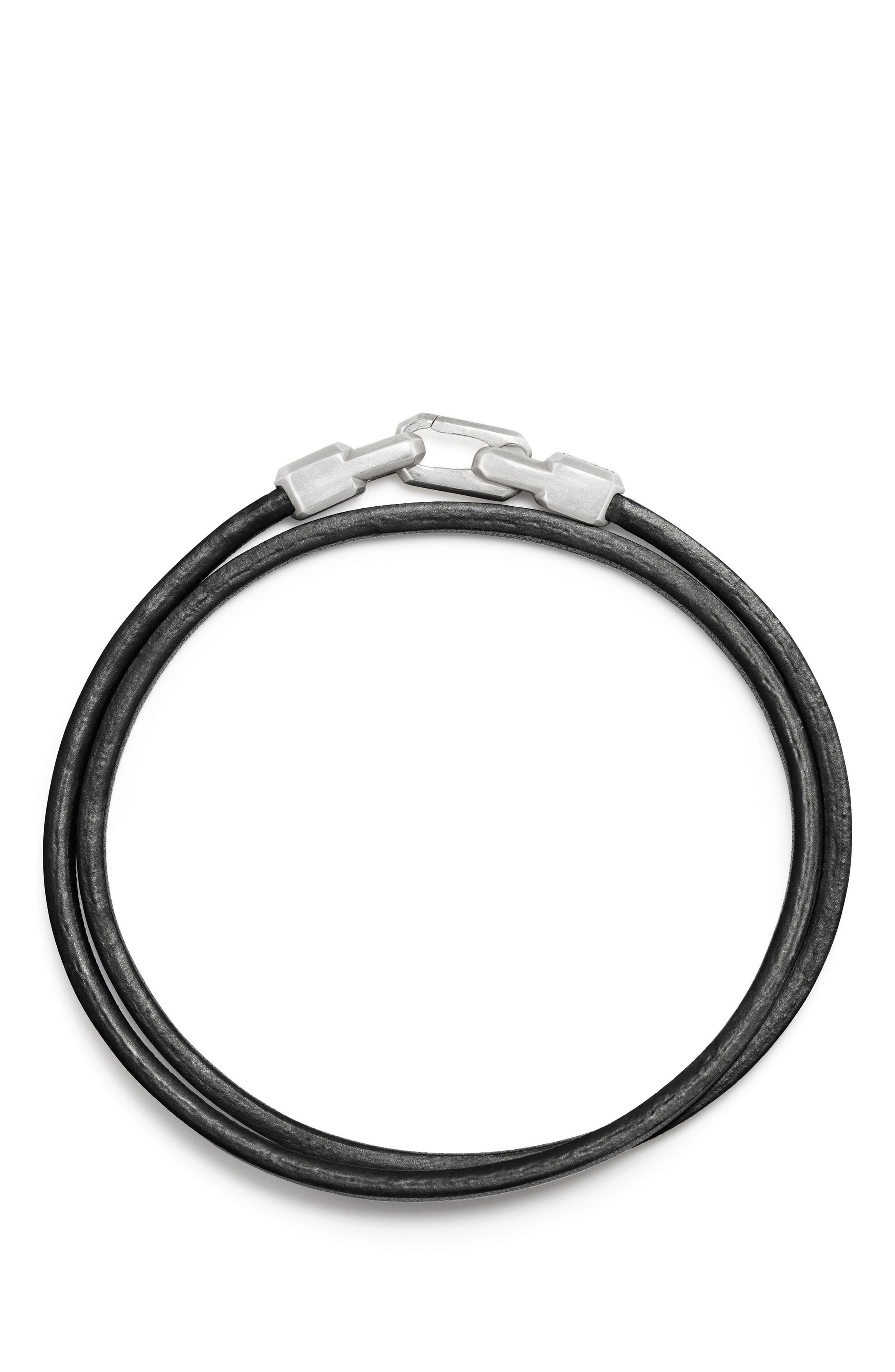 Streamline Double Wrap Leather Bracelet,                             Alternate thumbnail 2, color,                             Silver
