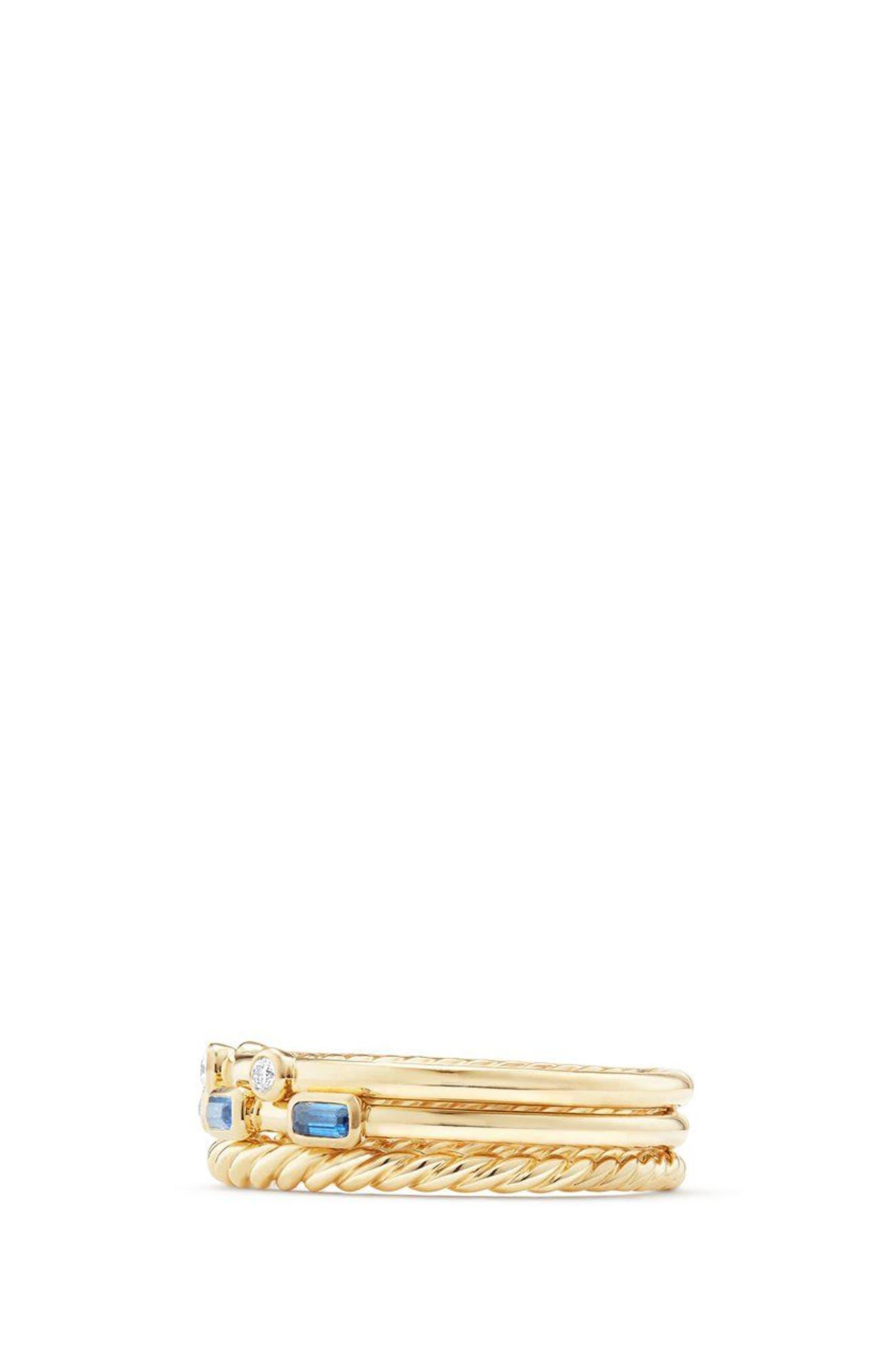 Novella 3-Row Ring with Diamonds,                             Alternate thumbnail 2, color,                             Gold/ Diamond/ Blue Sapphire