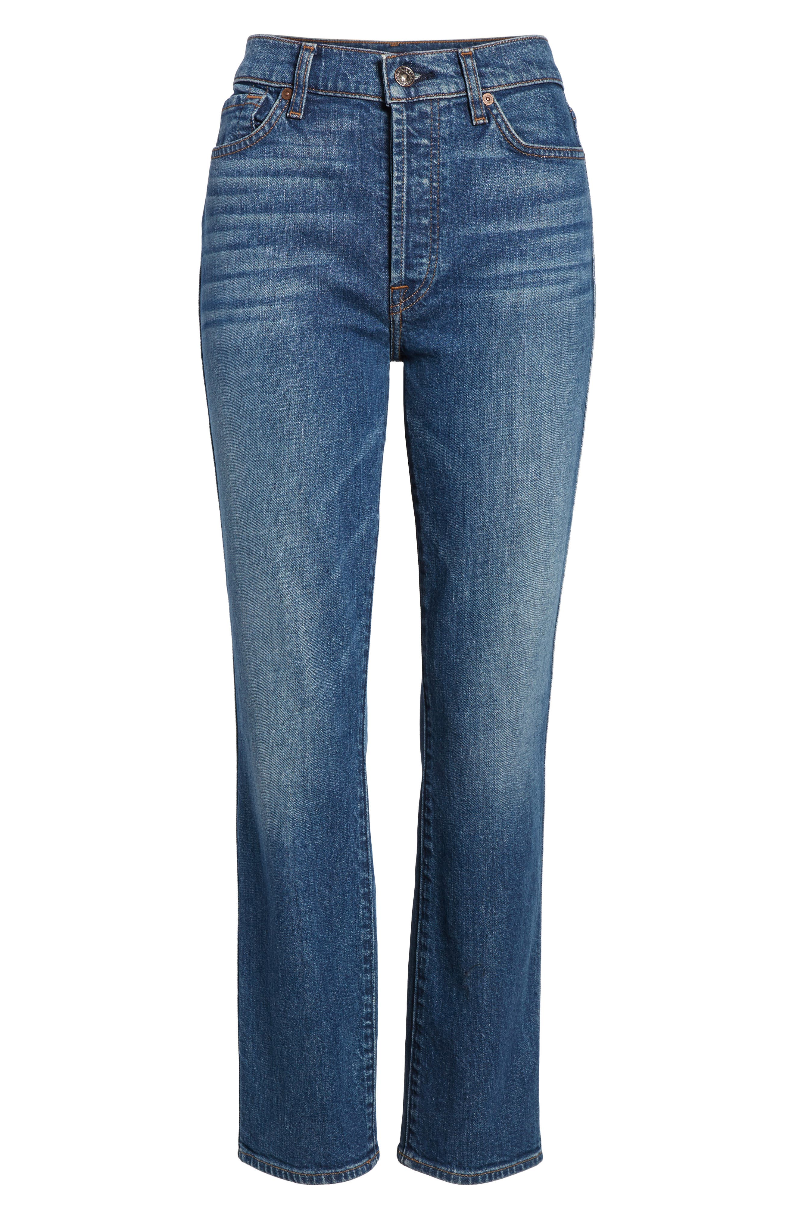 Edie High Waist Crop Straight Leg Jeans,                             Alternate thumbnail 7, color,                             Montreal W/ Embroidery