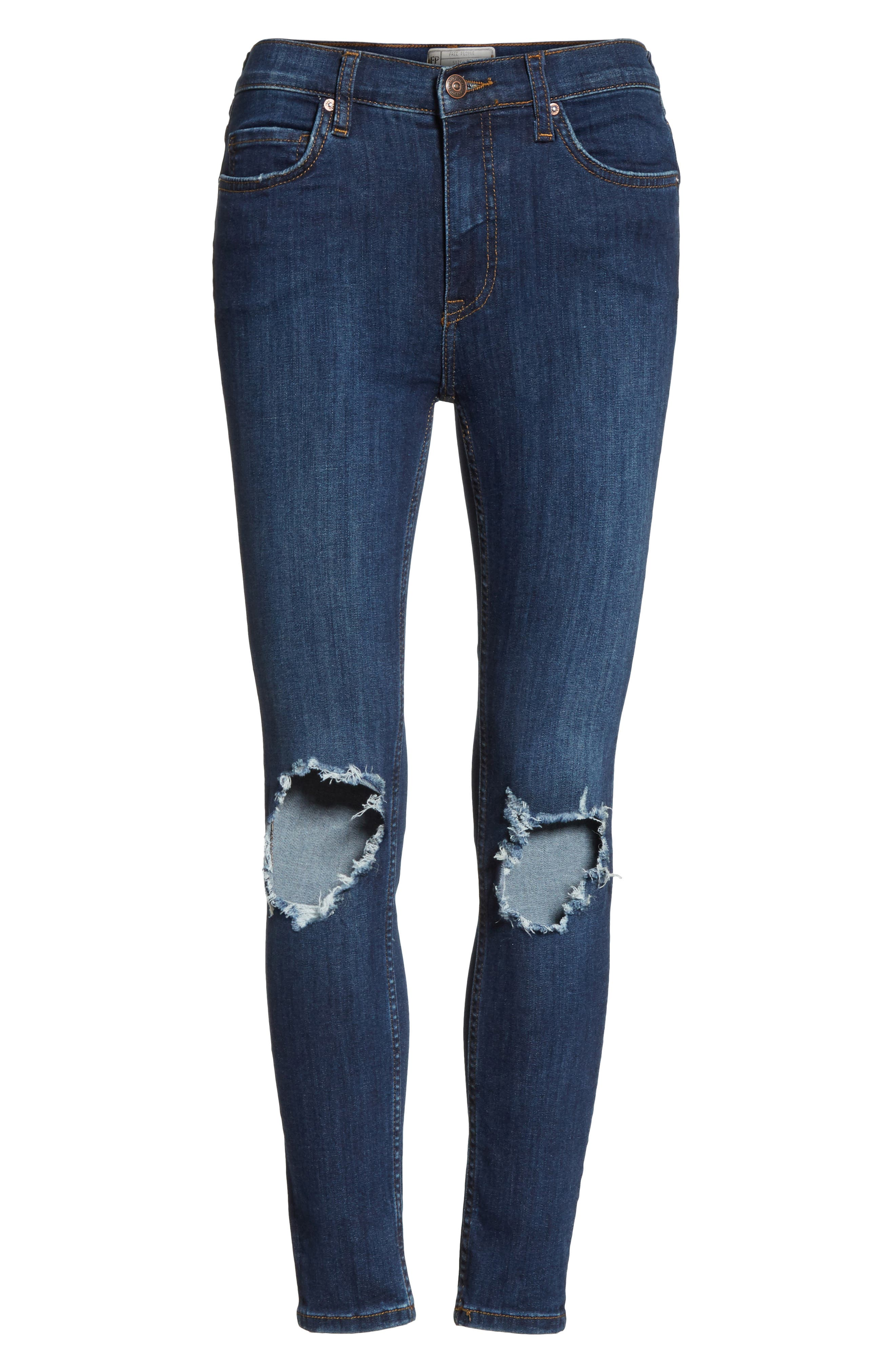 High Waist Ankle Skinny Jeans,                             Alternate thumbnail 7, color,                             Dark Blue