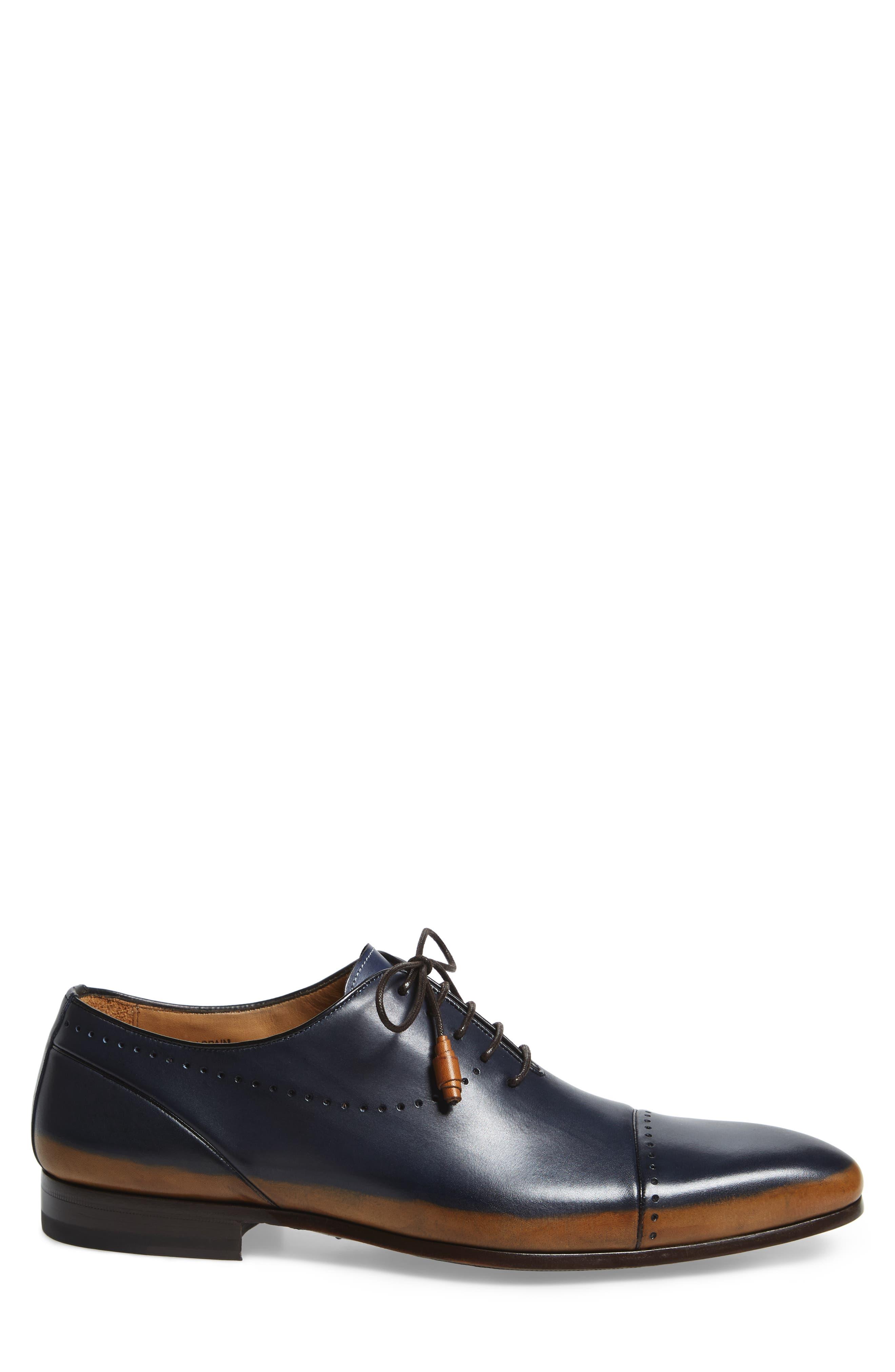Icaro Cap Toe Oxford,                             Alternate thumbnail 3, color,                             Tan/ Blue Leather