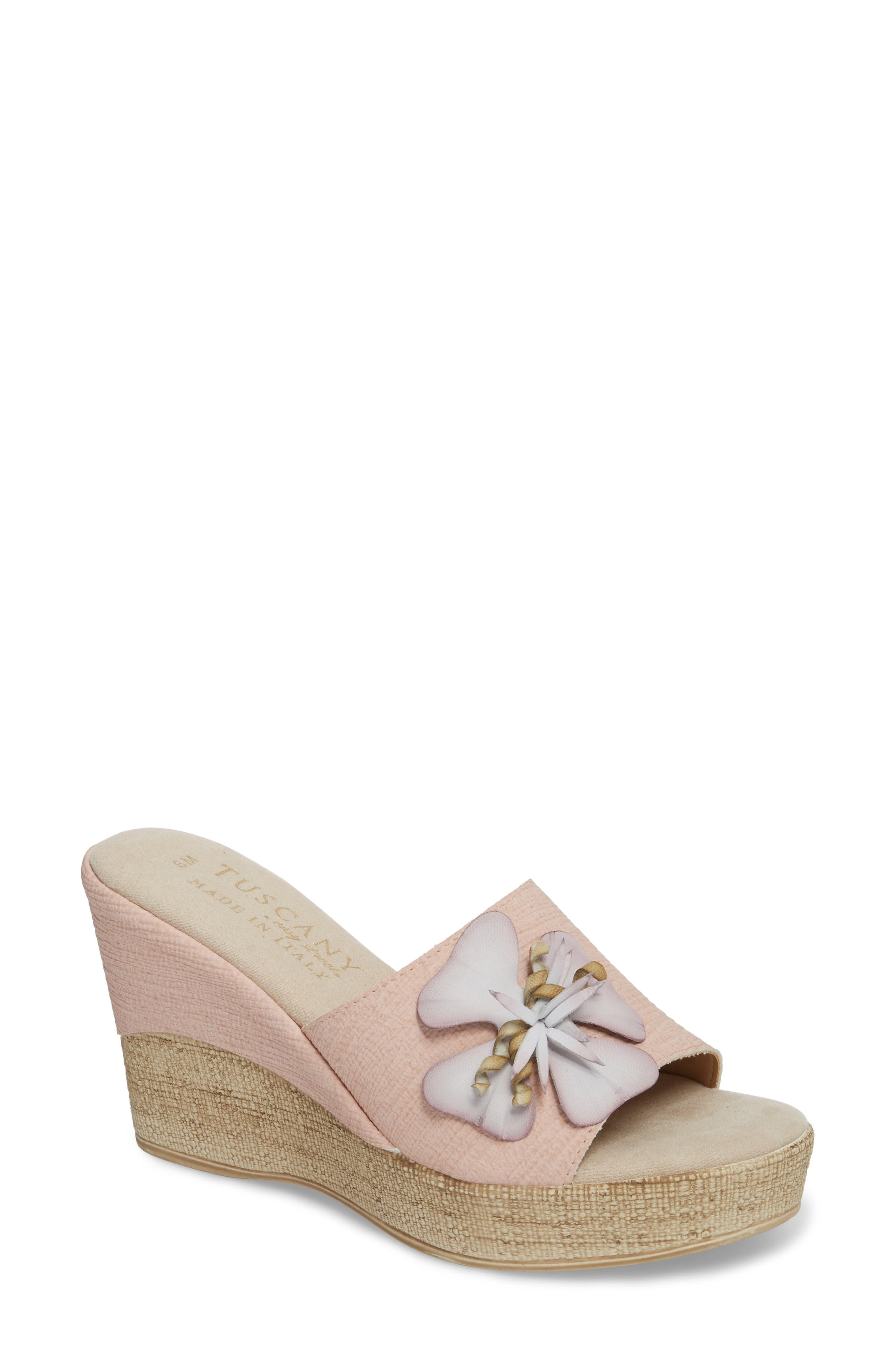 by Easy Street<sup>®</sup> Castello Wedge Slide,                             Main thumbnail 1, color,                             Blush Faux Leather