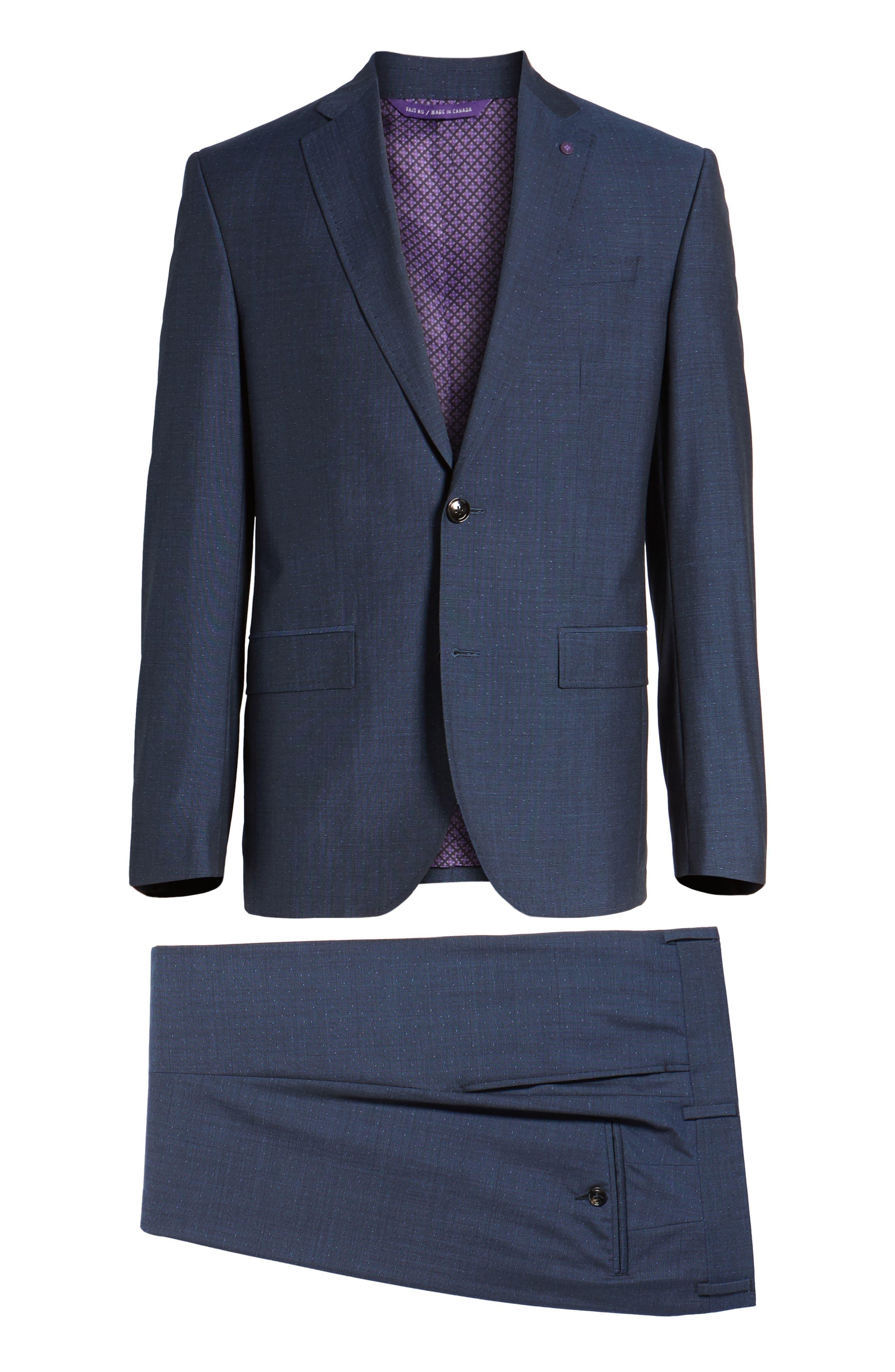 Roger Extra Slim Fit Dot Wool Suit,                             Alternate thumbnail 8, color,                             Dark Blue