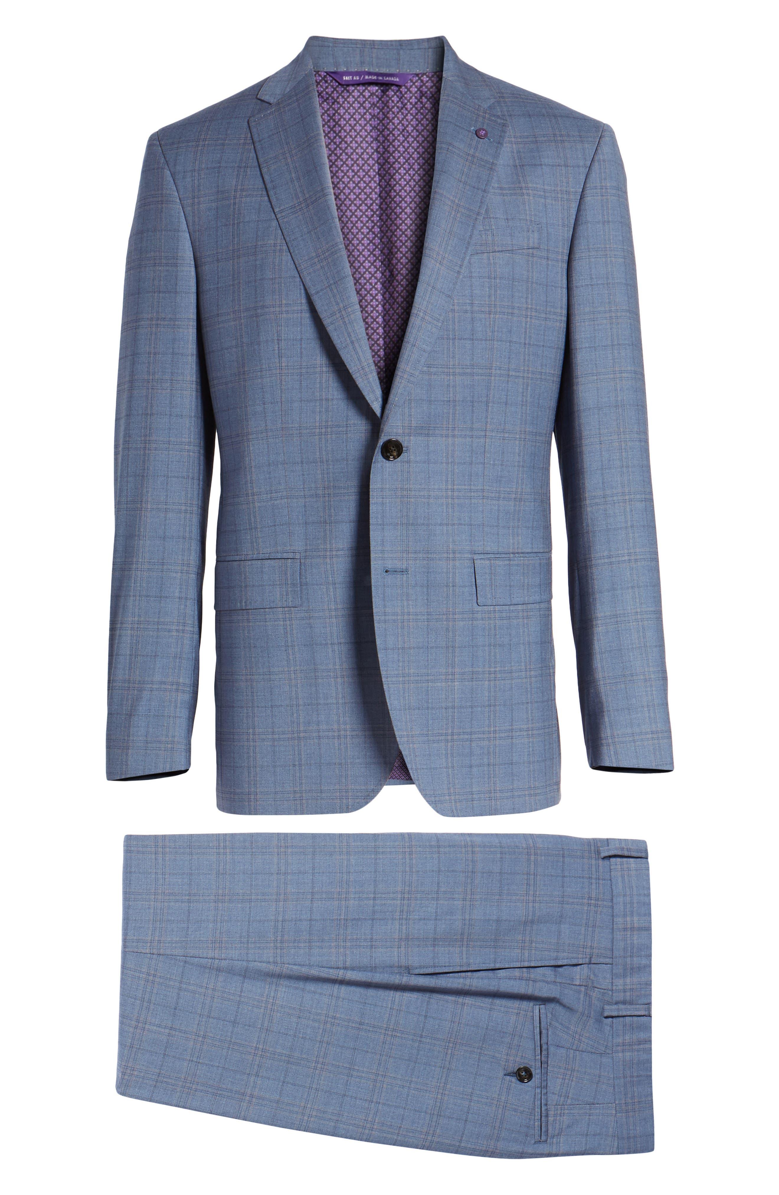 Jay Trim Fit Plaid Wool Suit,                             Alternate thumbnail 8, color,                             Blue