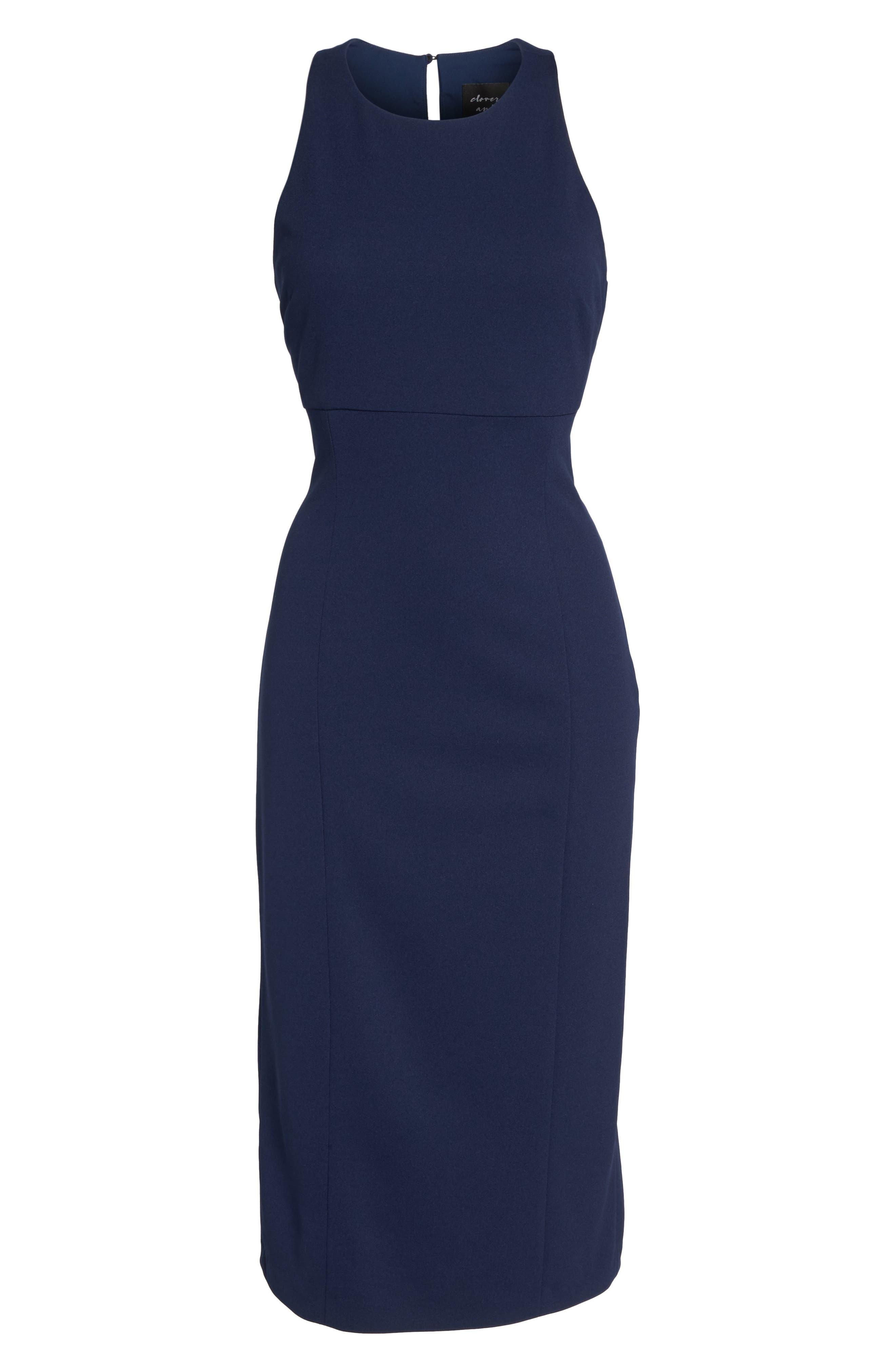 Open Back Sheath Dress,                             Alternate thumbnail 6, color,                             Navy