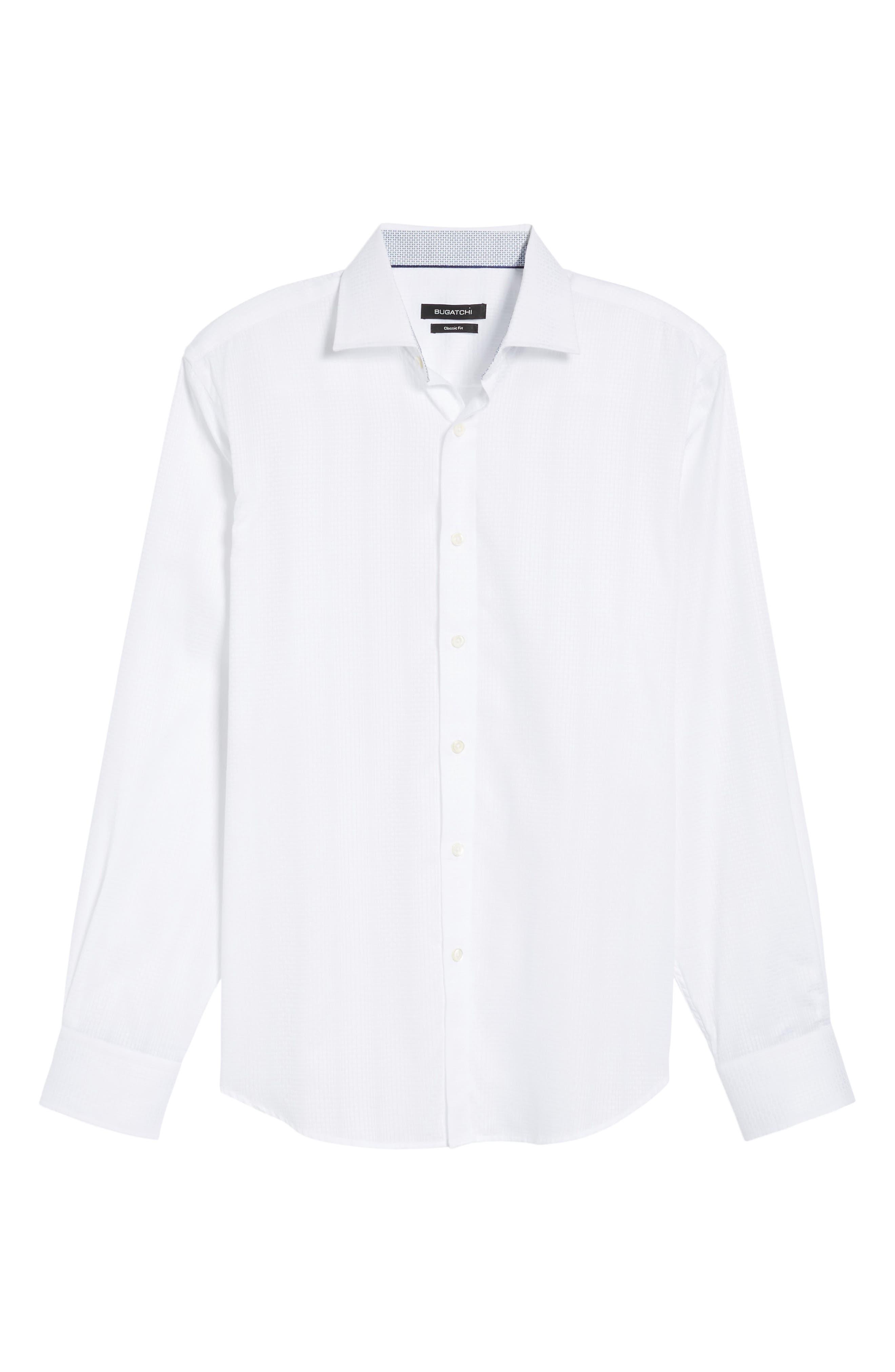 Tonal Diamond Jacquard Classic Fit Sport Shirt,                             Alternate thumbnail 6, color,                             White