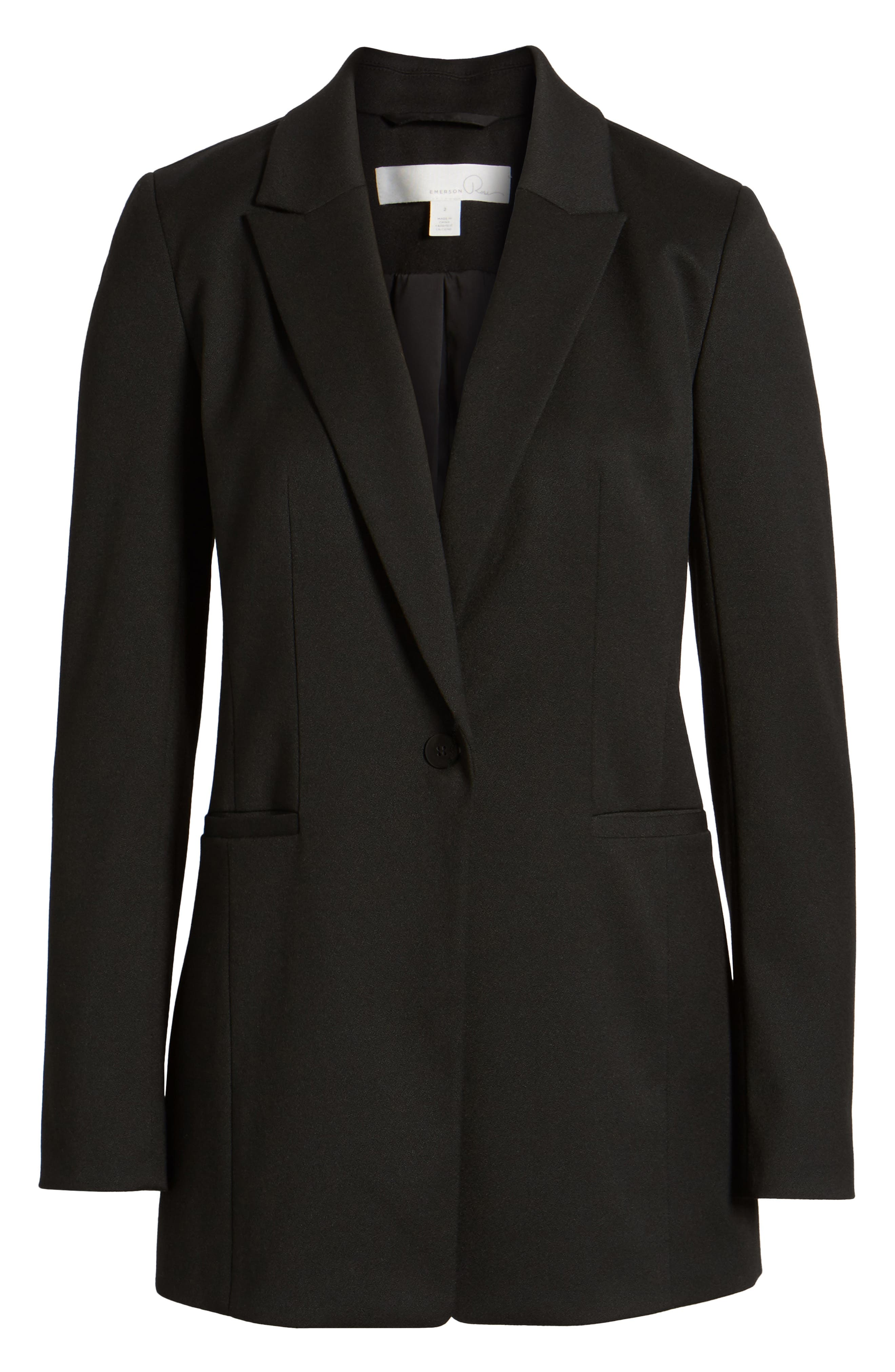 Stretch Crepe Suit Jacket,                             Alternate thumbnail 6, color,                             Black