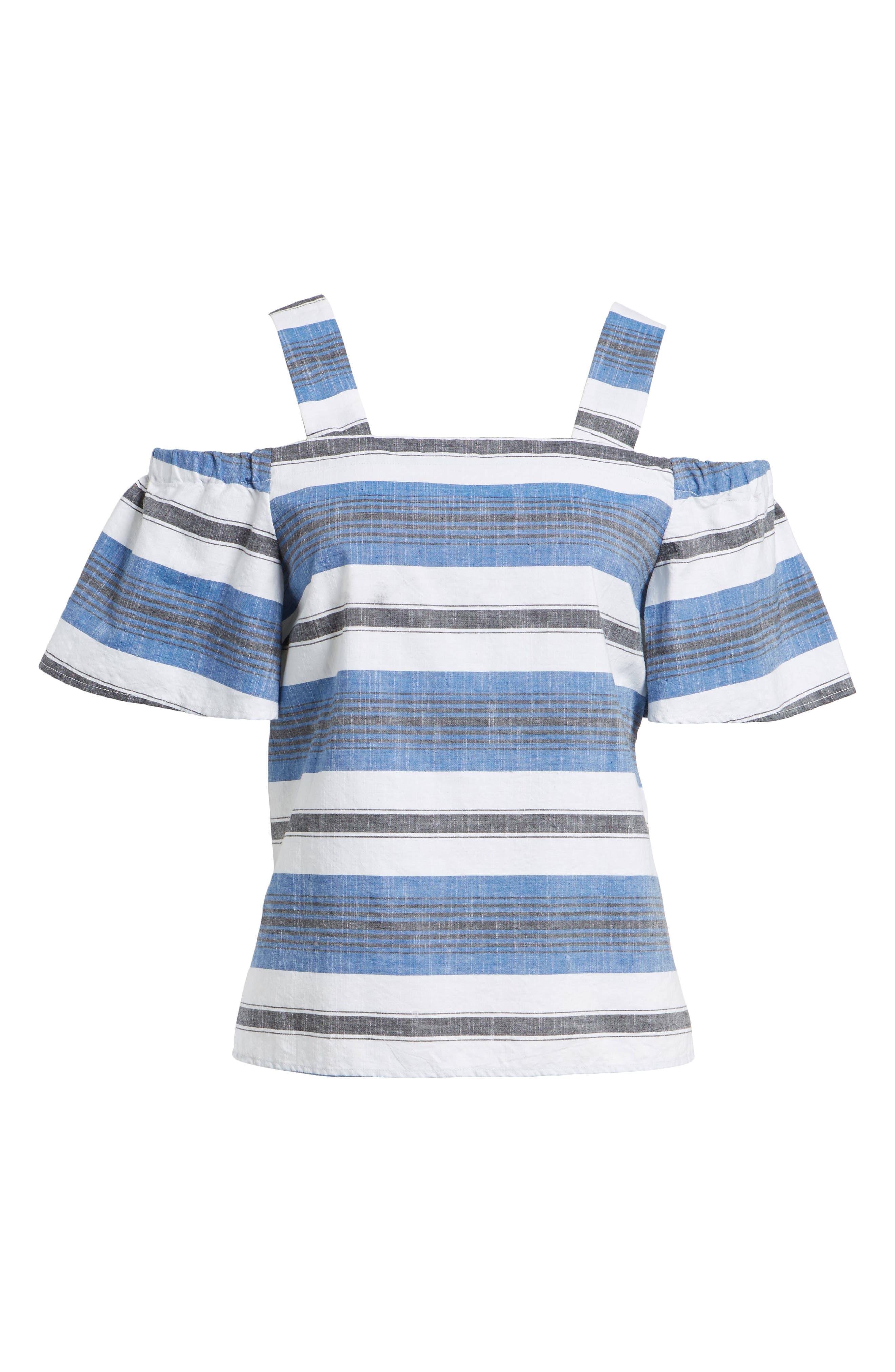 Stripe Cold Shoulder Top,                             Alternate thumbnail 6, color,                             Blue Multi