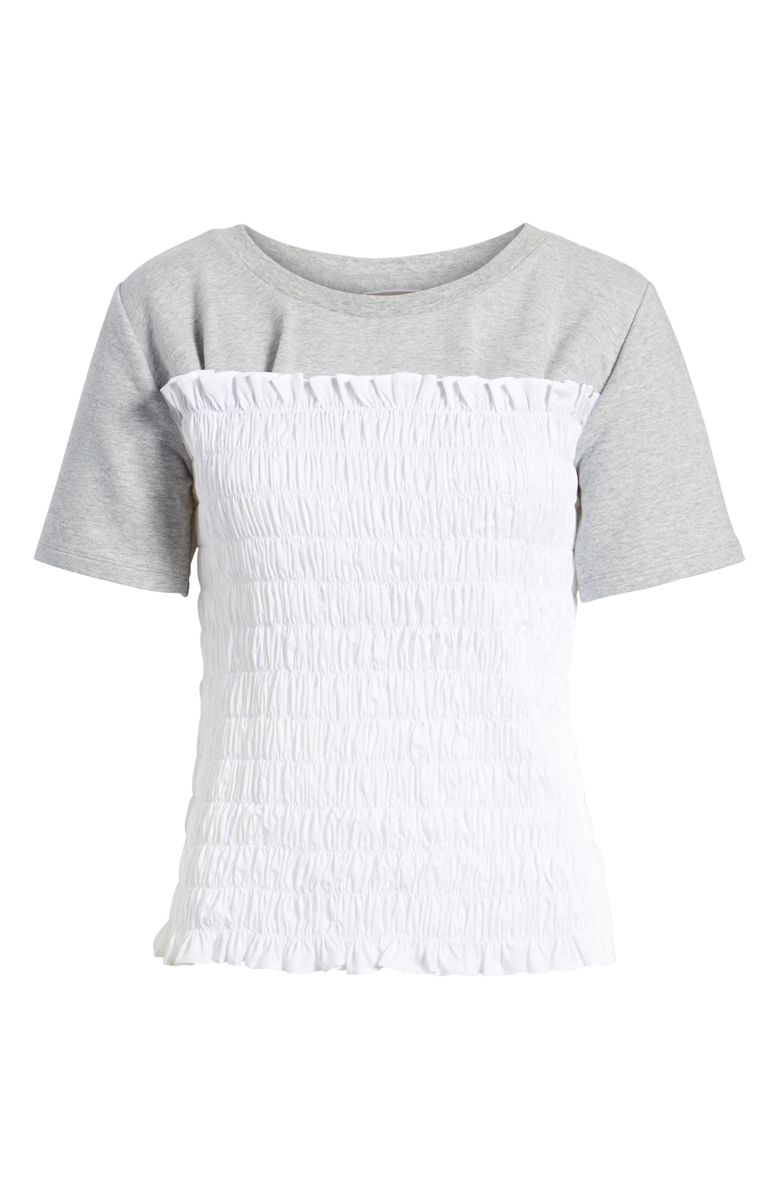 Smocked Sweatshirt,                             Alternate thumbnail 6, color,                             Grey Heather
