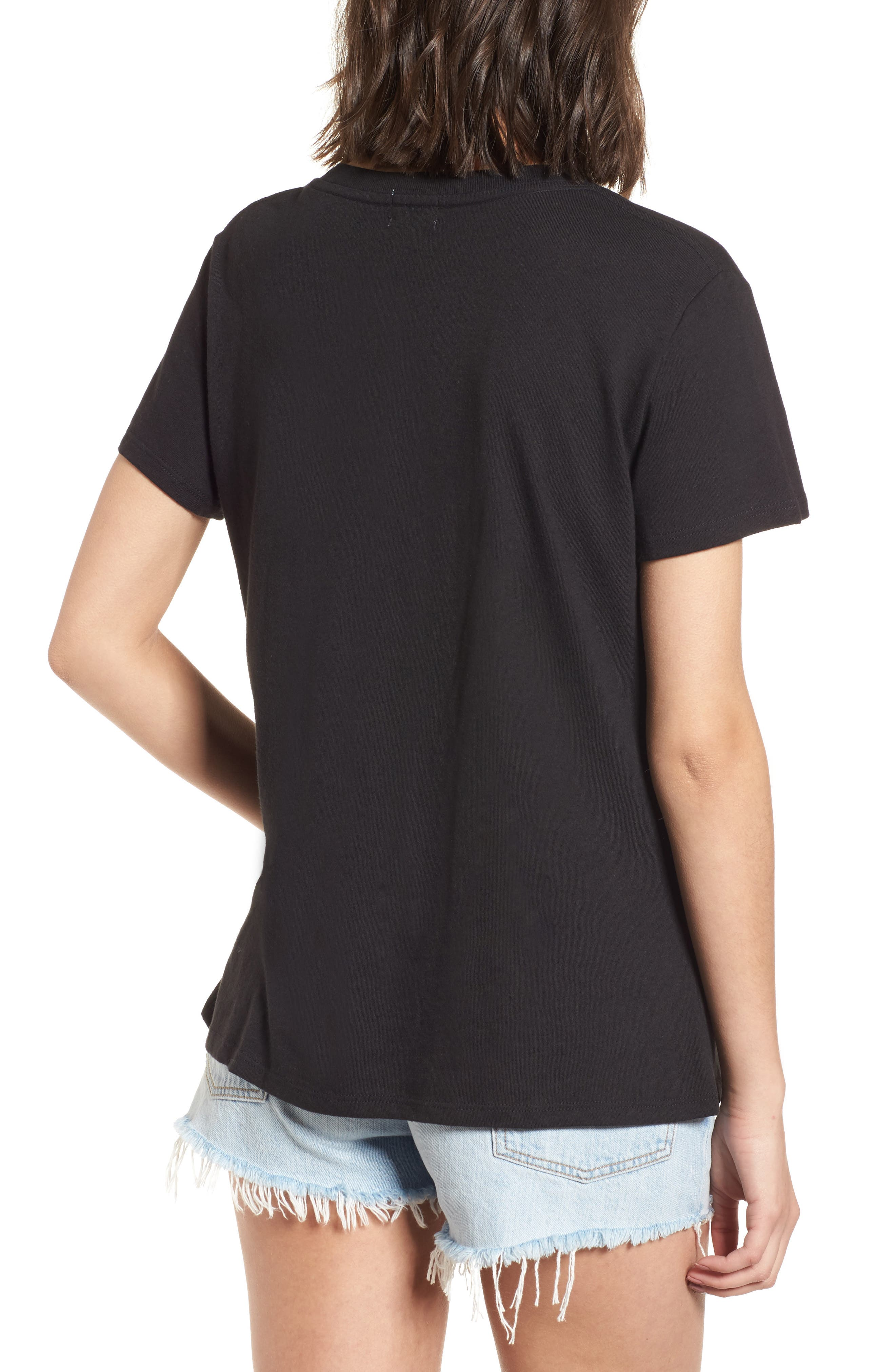 Iconic Slouched Graphic Tee,                             Alternate thumbnail 2, color,                             Black