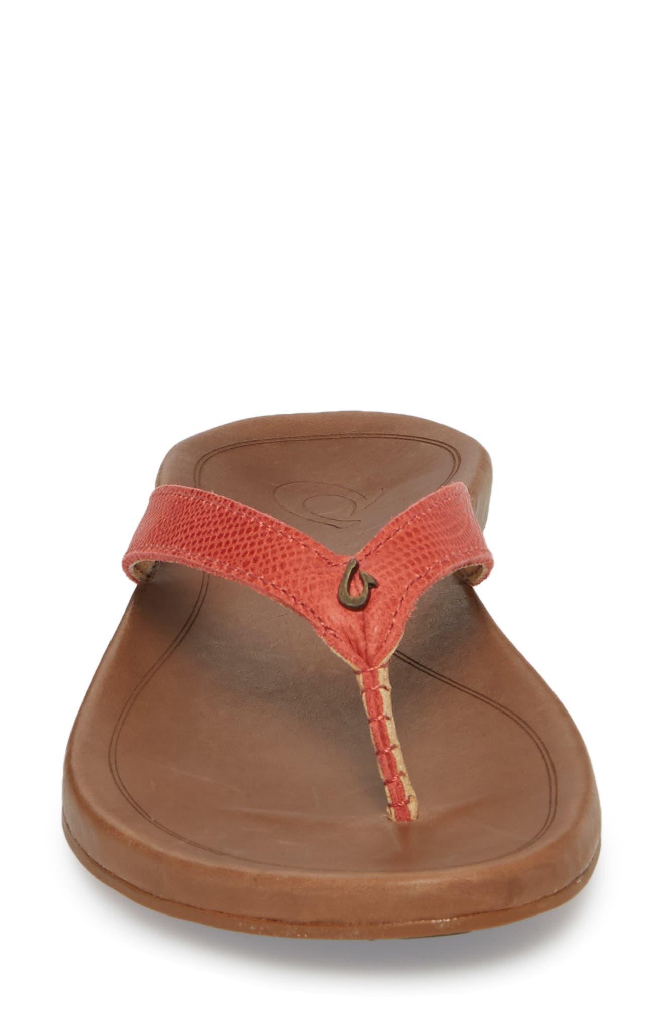 'Hi Ona' Flip Flop,                             Alternate thumbnail 4, color,                             Paprika/ Tan Leather