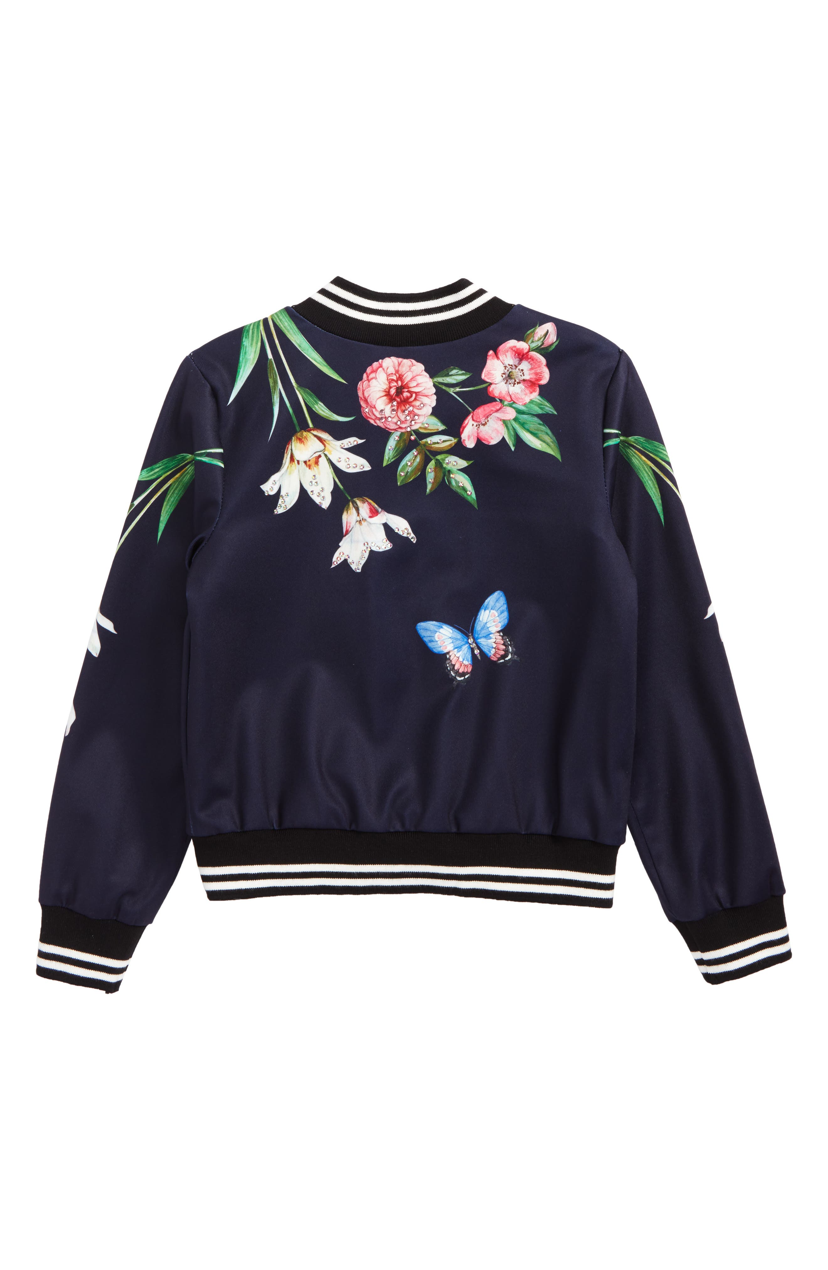 Print Bomber Jacket,                             Alternate thumbnail 2, color,                             Navy Multi