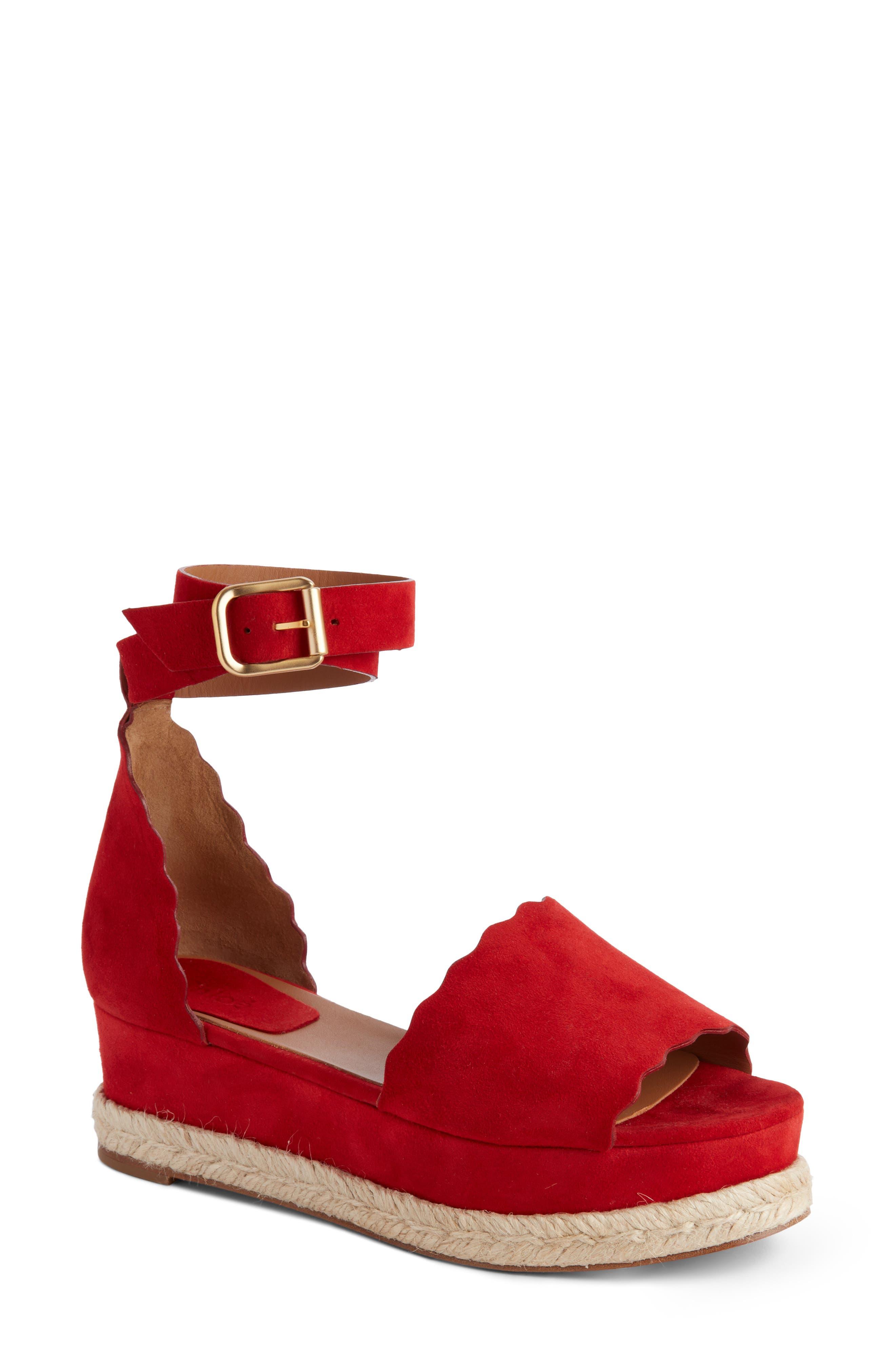 Lauren Espadrille Wedge Sandal,                             Main thumbnail 1, color,                             Red Flame