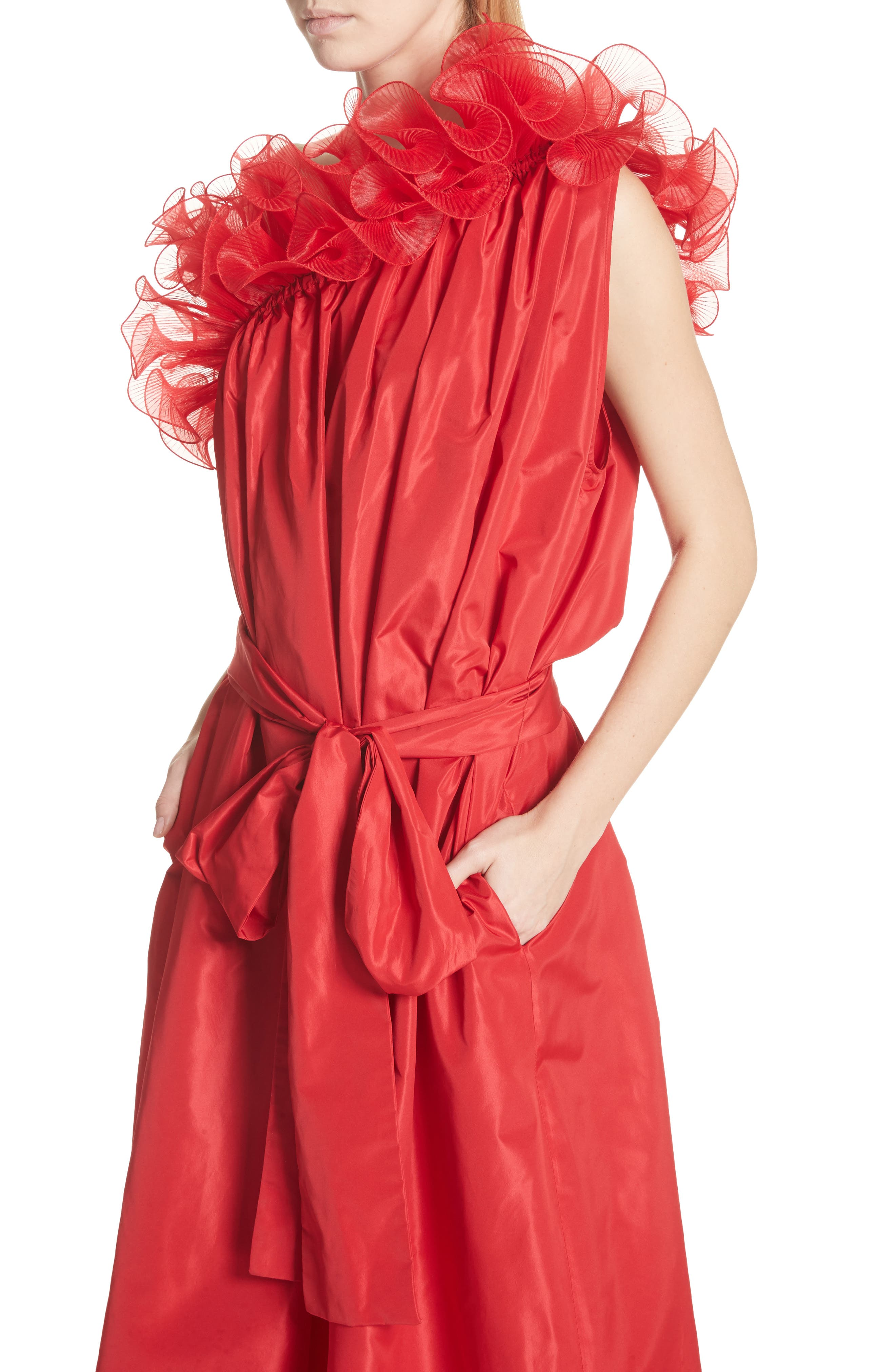 One-Shoulder Ruffle Taffeta Dress,                             Alternate thumbnail 4, color,                             Red