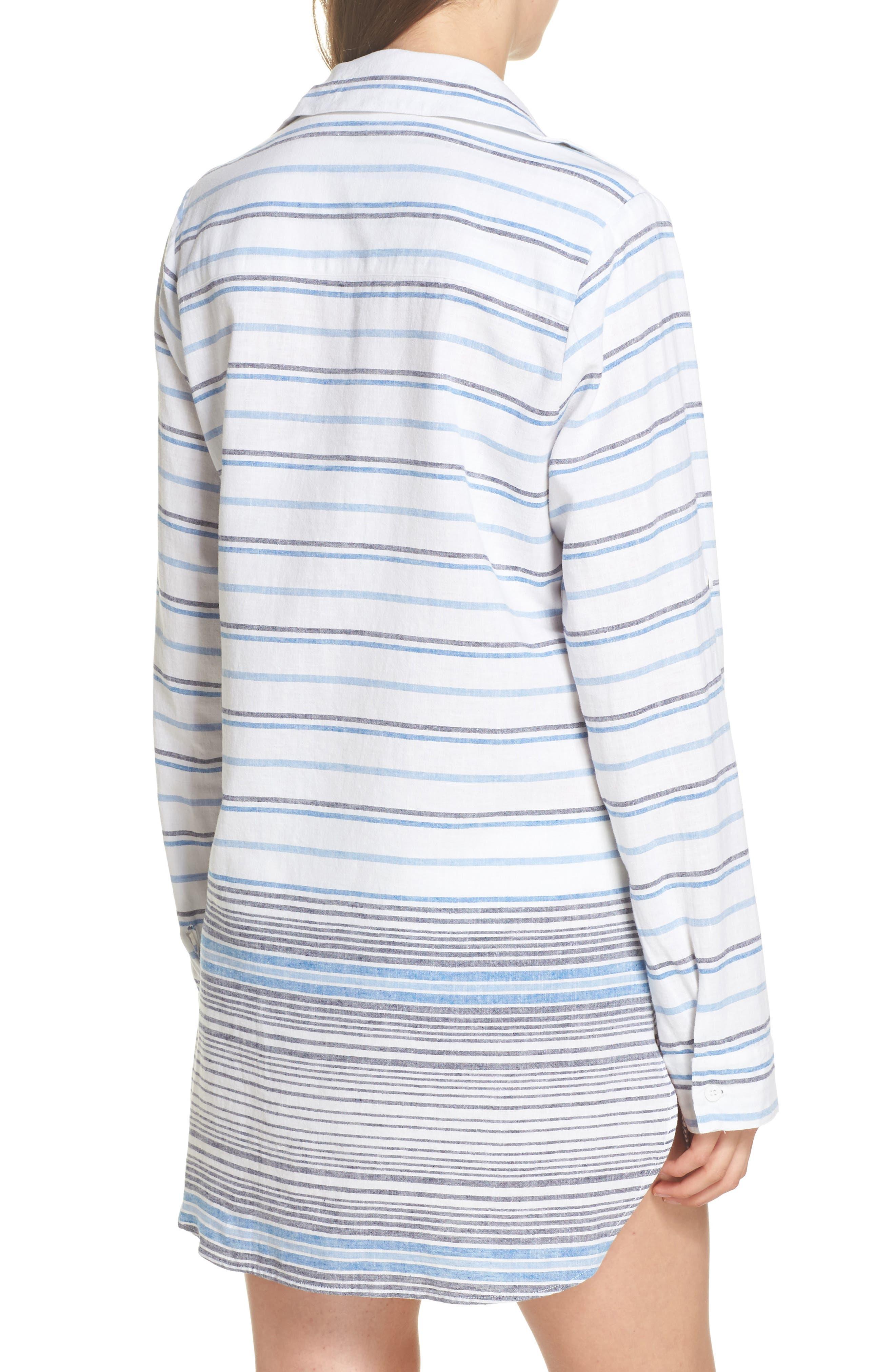 Stripe Linen & Cotton Cover-Up Tunic,                             Alternate thumbnail 2, color,                             White