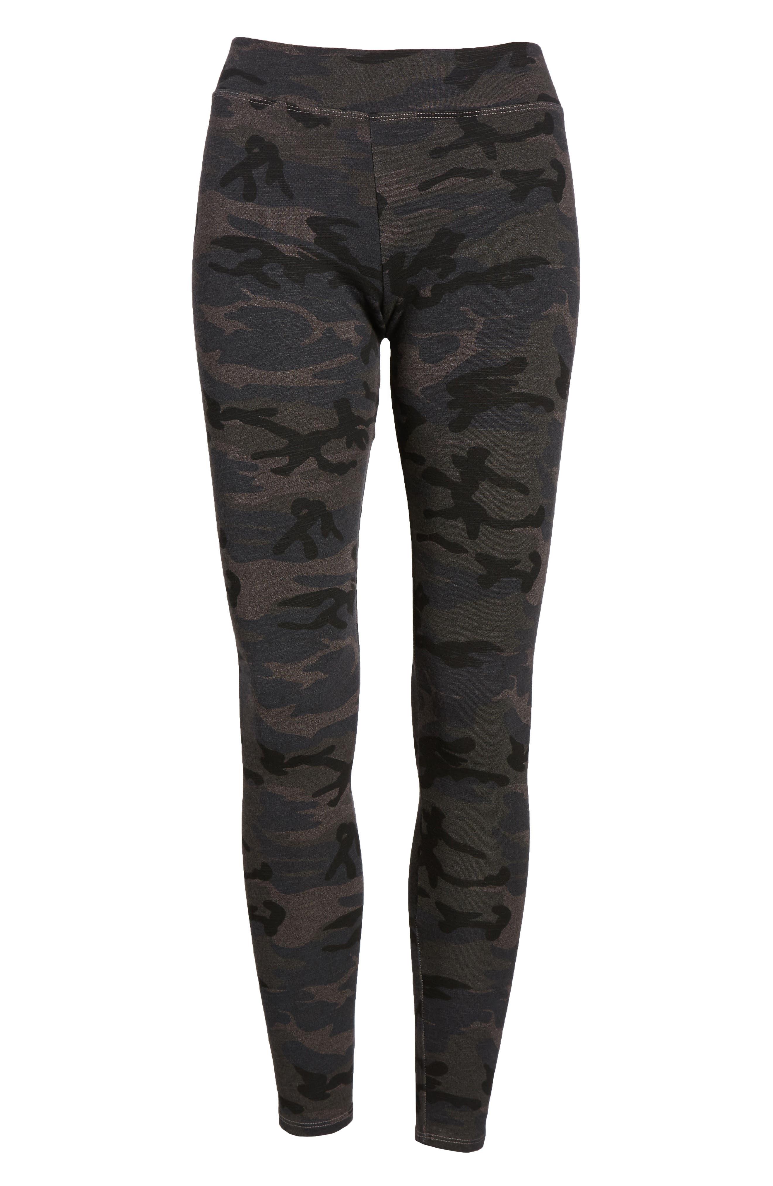 Camo Yoga Pants,                             Alternate thumbnail 7, color,                             Charcoal