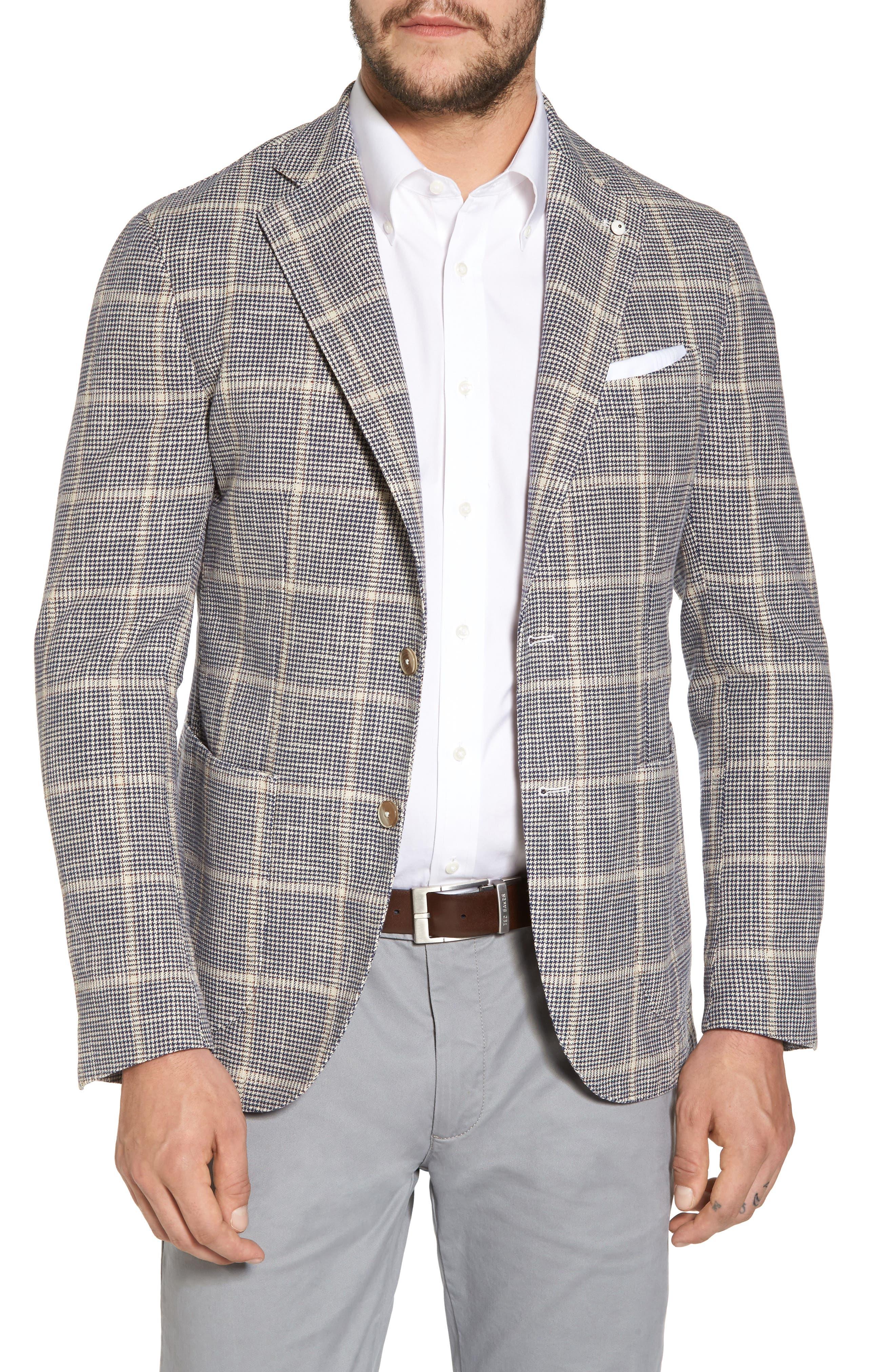 Classic Fit Windowpane Cotton & Silk Sport Coat,                         Main,                         color, Light/ Pastel Brown