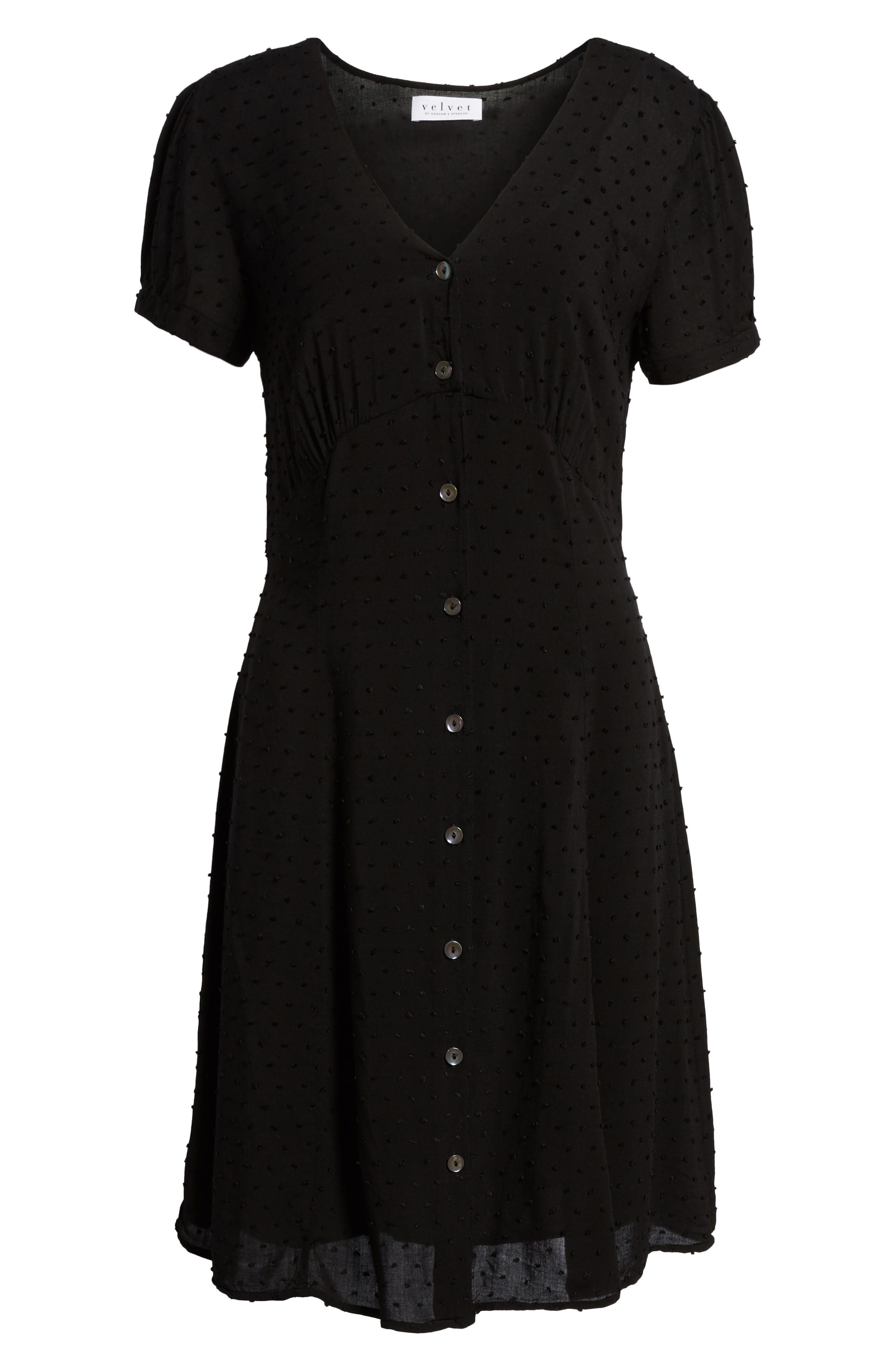 Swiss Dot Shirtdress,                             Alternate thumbnail 6, color,                             Black