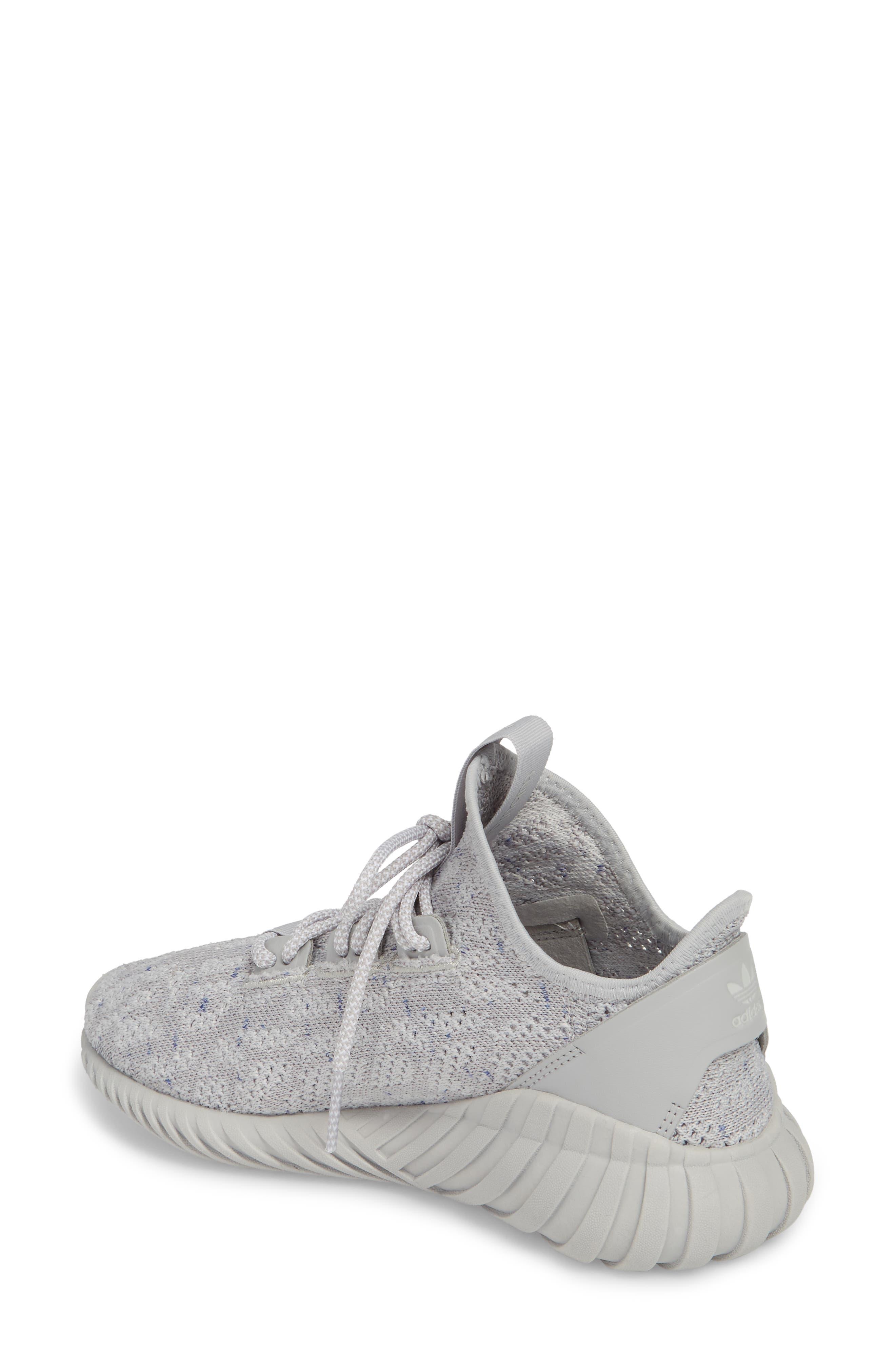 Tubular Doom Sock Primeknit Sneaker,                             Alternate thumbnail 2, color,                             Grey/ White/ Blue