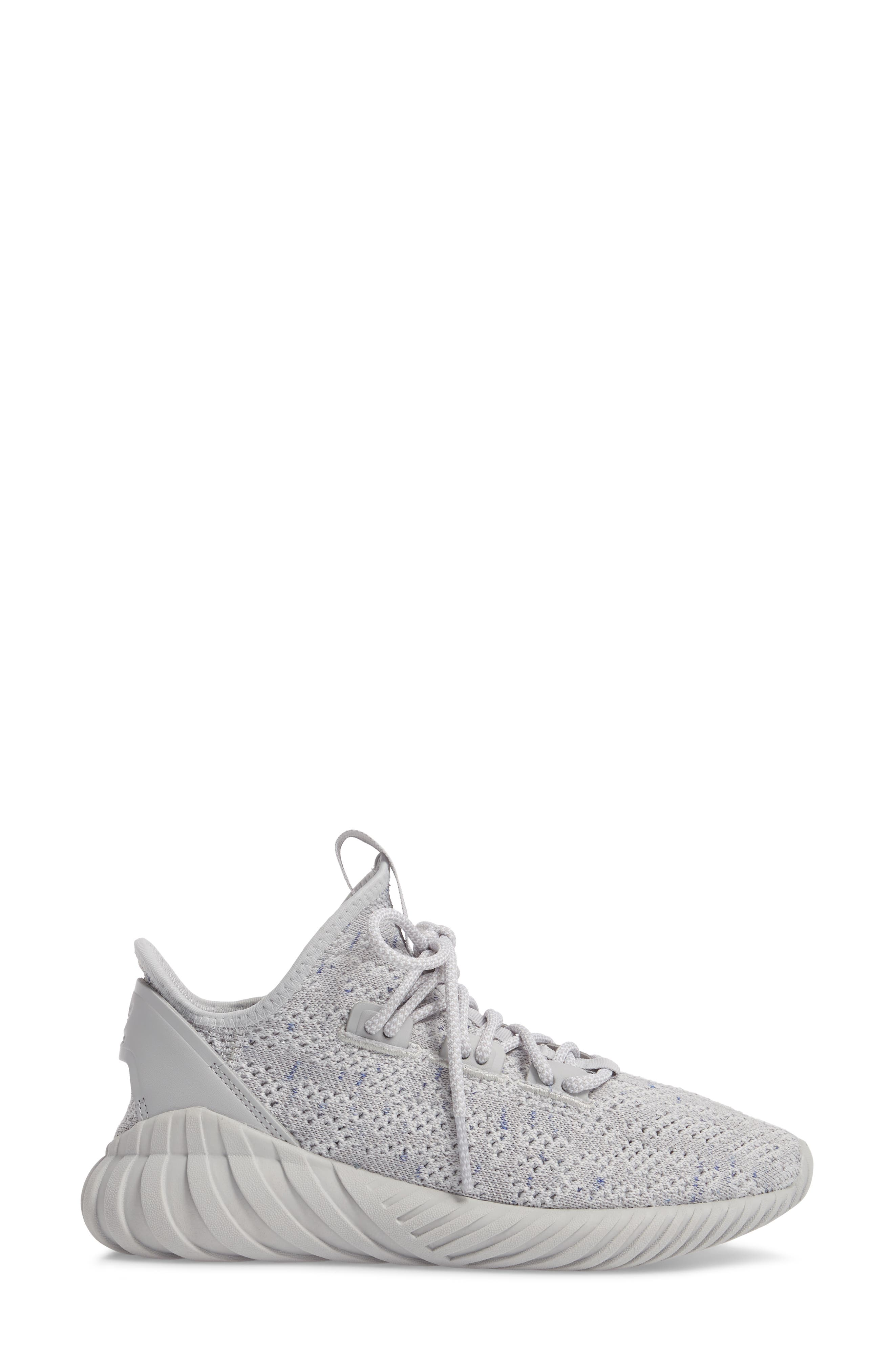 Tubular Doom Sock Primeknit Sneaker,                             Alternate thumbnail 3, color,                             Grey/ White/ Blue