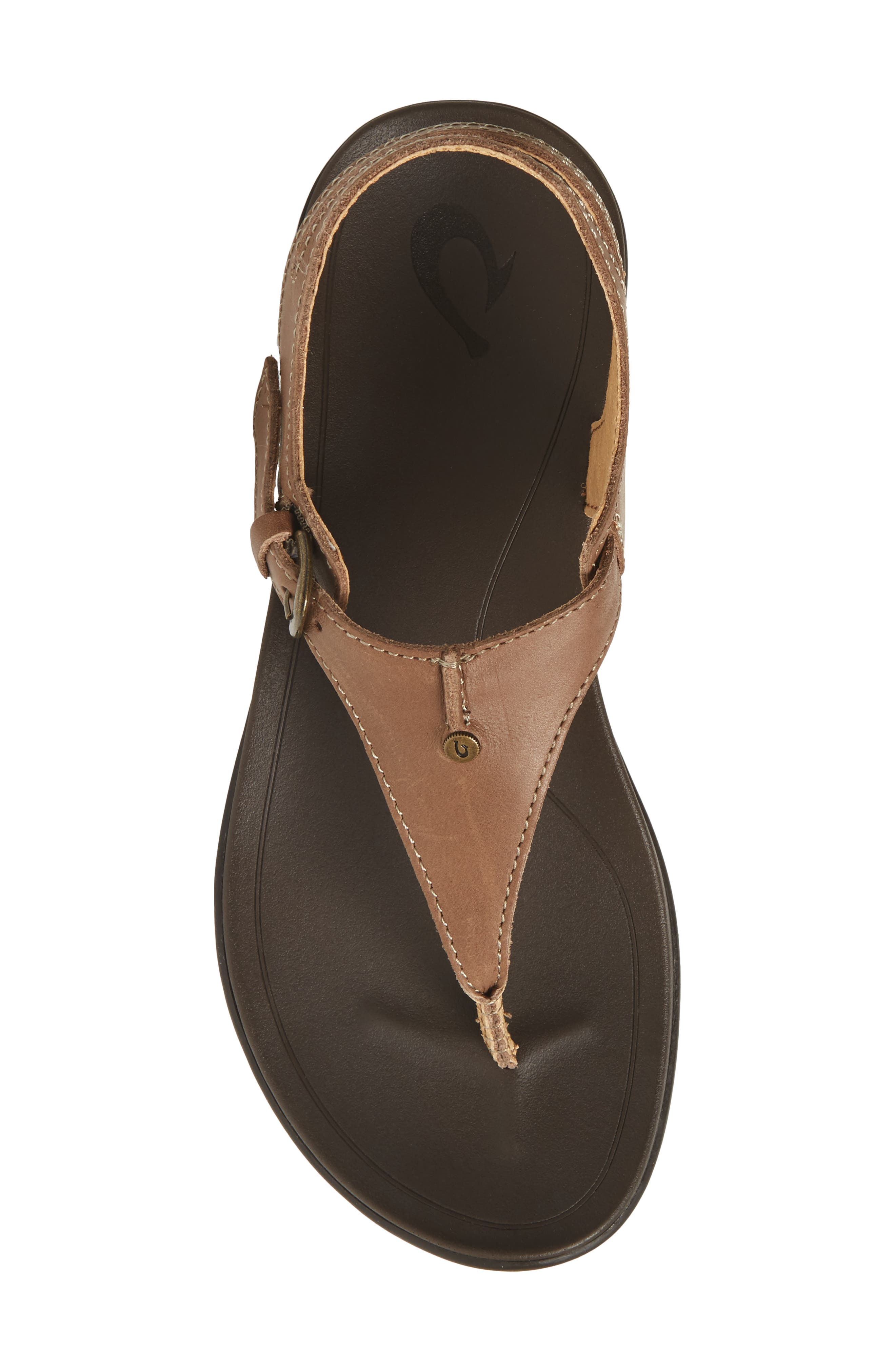 'Eheu V-Strap Sandal,                             Alternate thumbnail 4, color,                             Clay/ Dark Java Leather