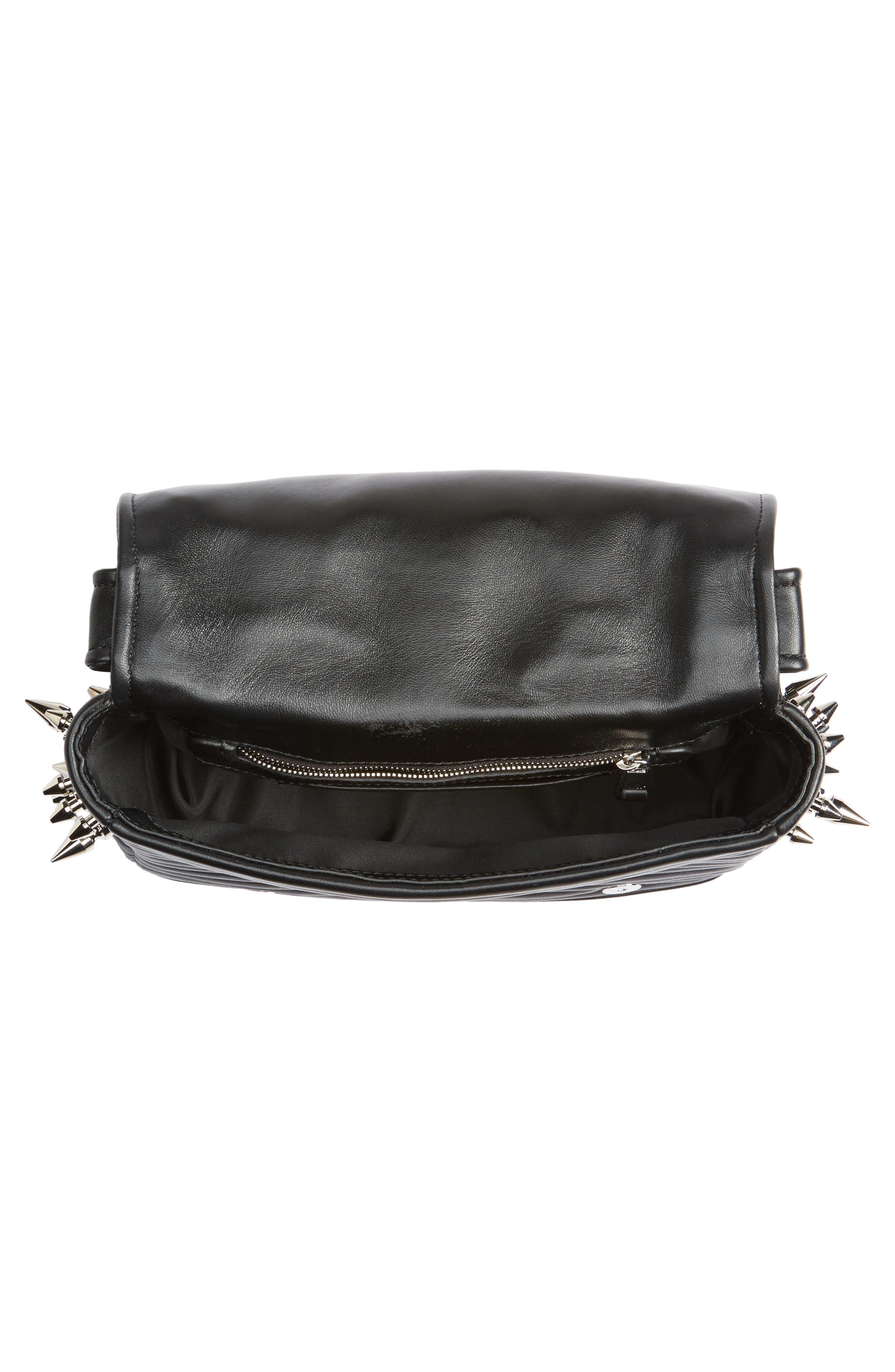 Spiked Biker Jacket Crossbody Bag,                             Alternate thumbnail 4, color,                             Black/ Nickel
