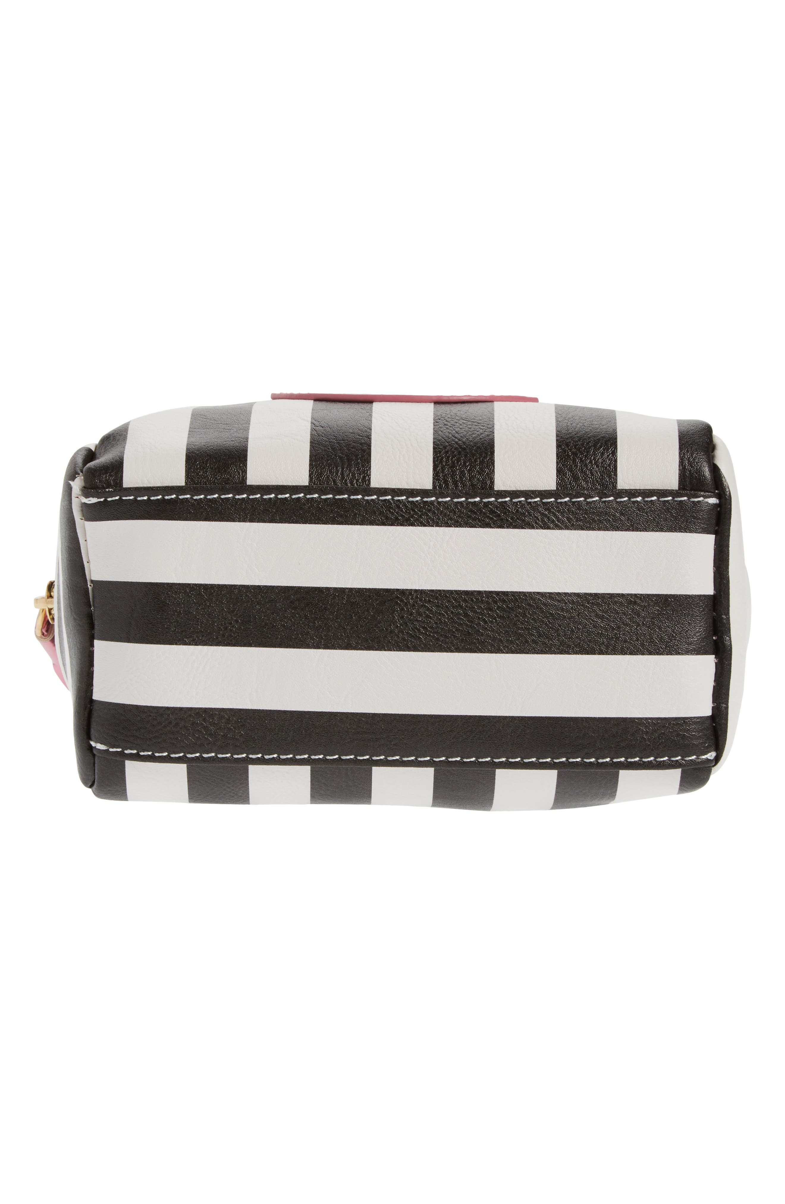 Metallic Lip Stripe Cosmetics Bag,                             Alternate thumbnail 5, color,                             Black/ White