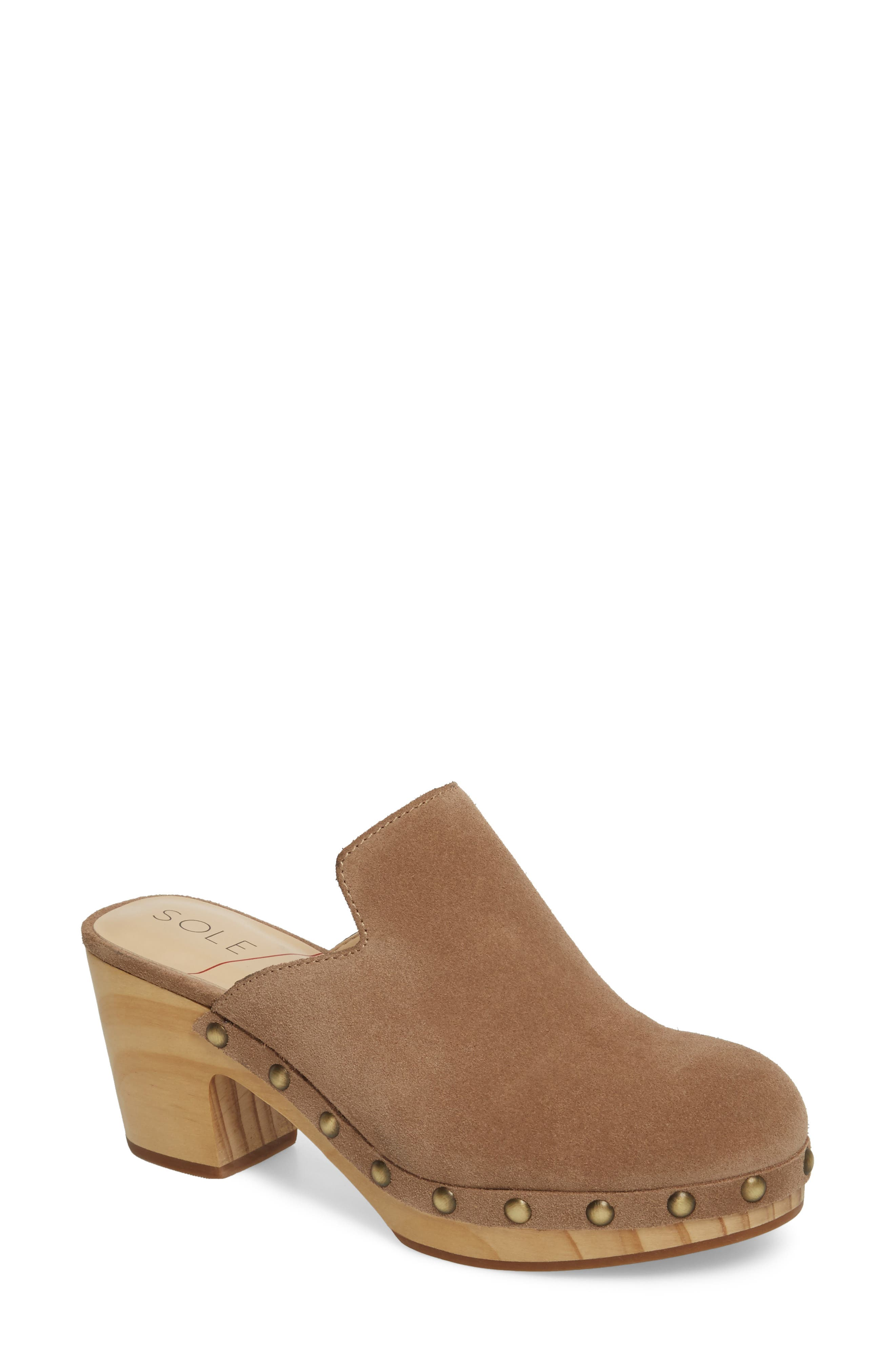 Madelina Clog,                             Main thumbnail 1, color,                             Taupe Cow Suede