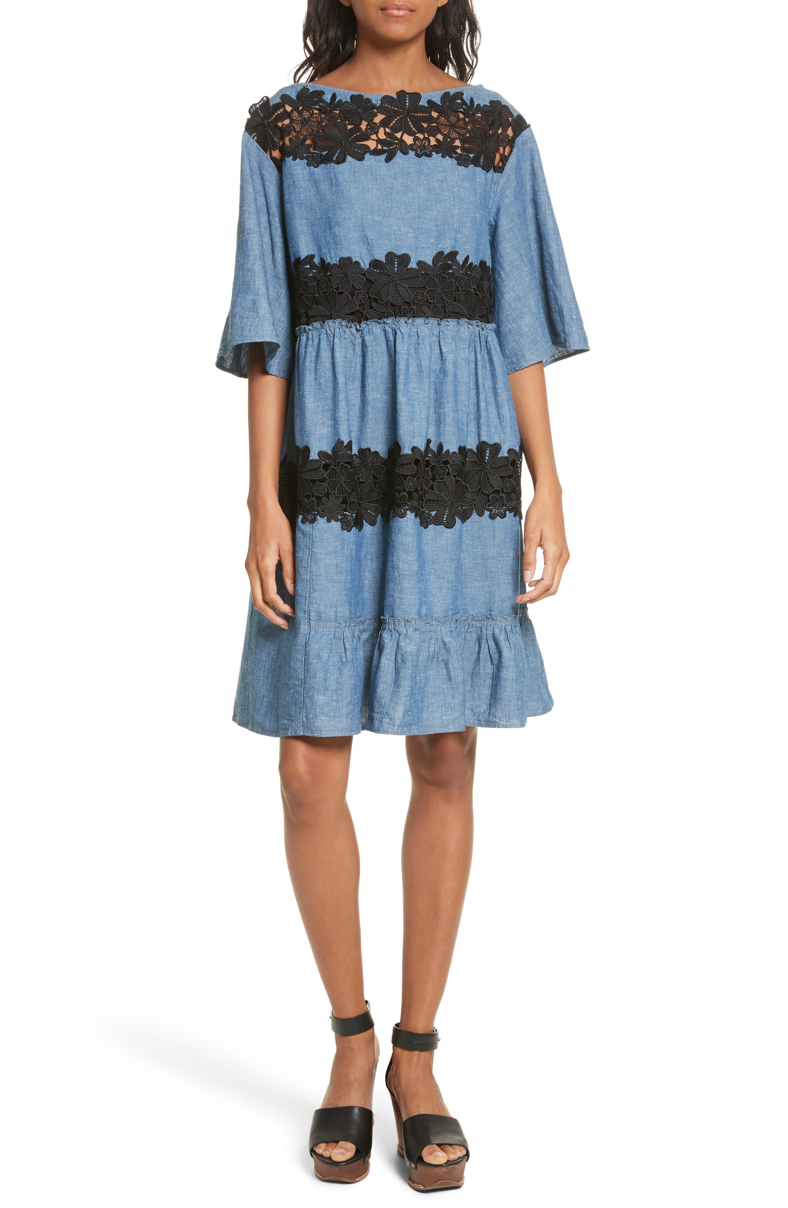 See by Chloé Lace Panel Chambray Dress