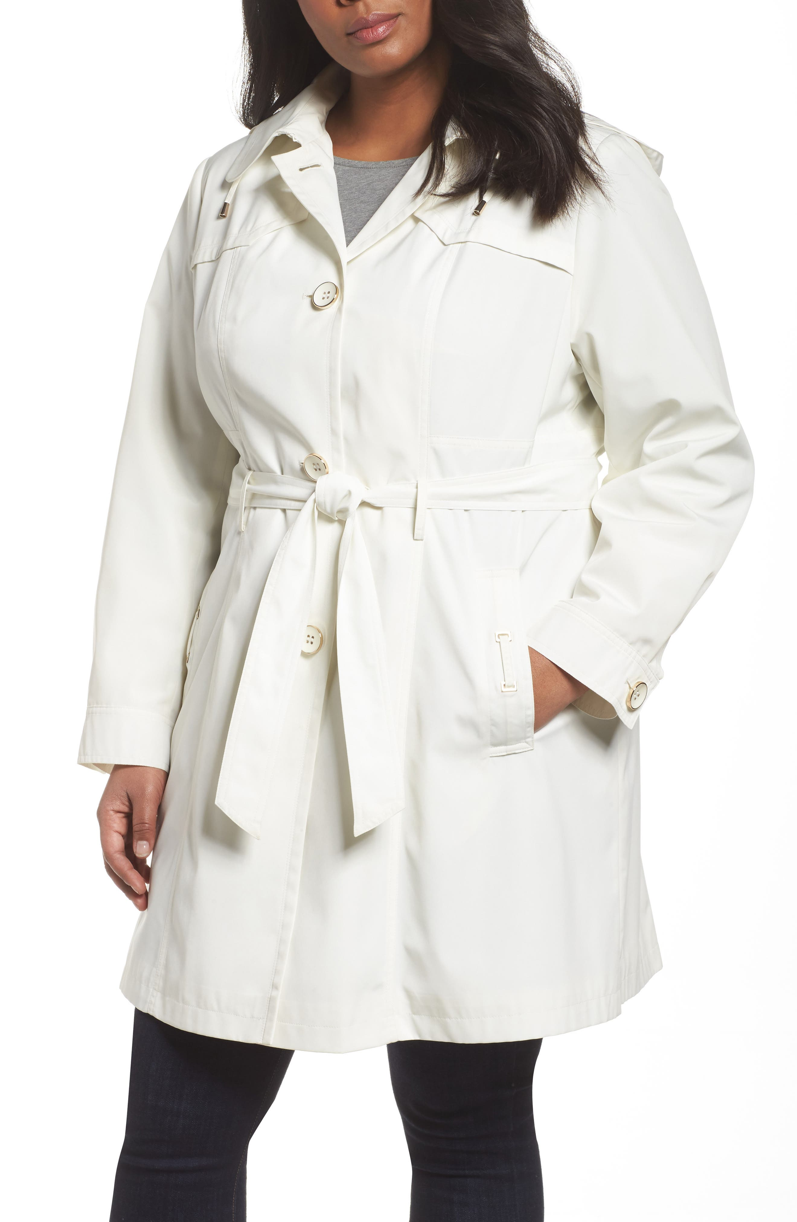 Belted Trench Raincoat,                         Main,                         color, Vanilla