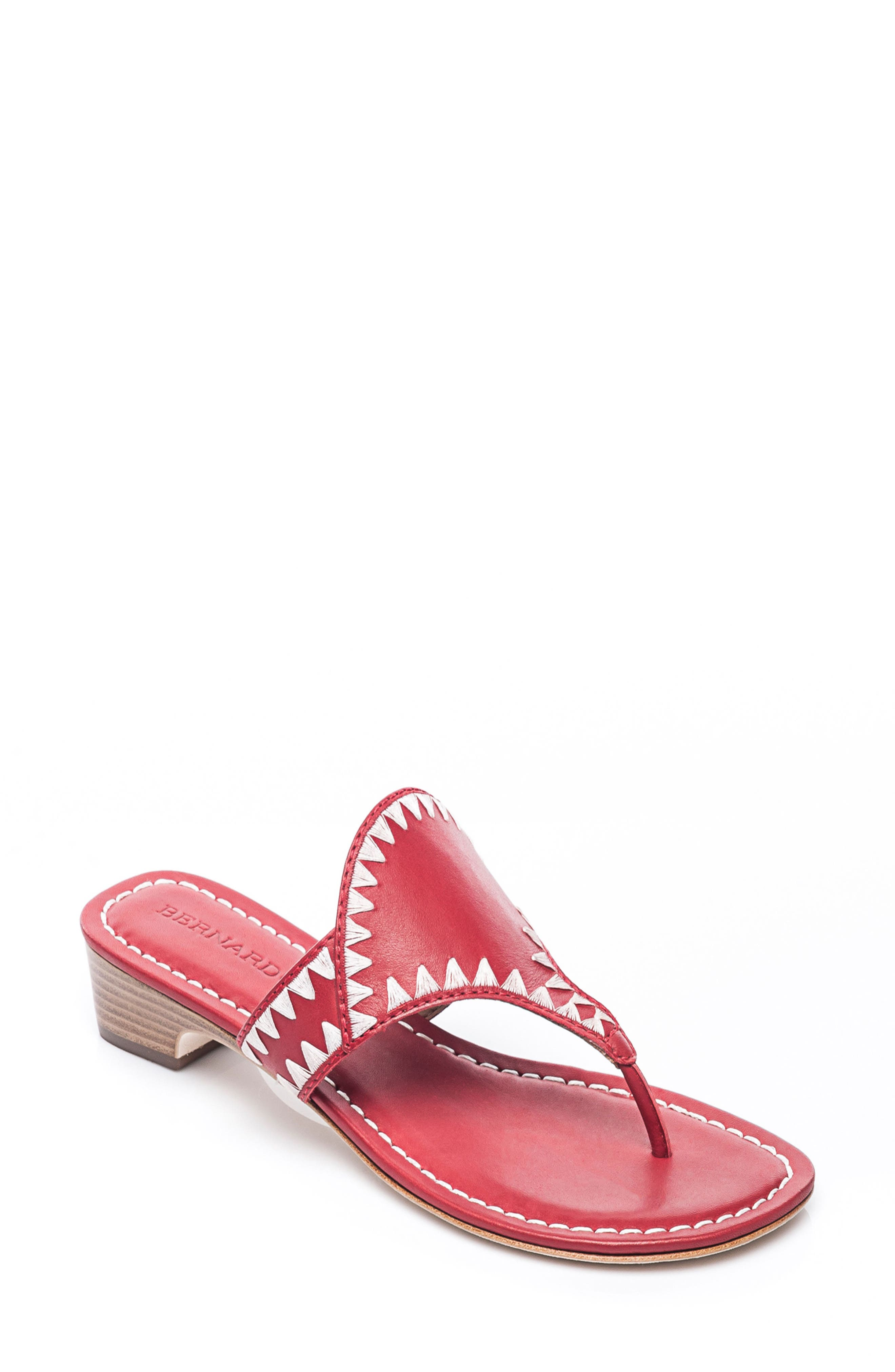 Bernardo Gabi Embroidered Sandal,                         Main,                         color, Red Leather