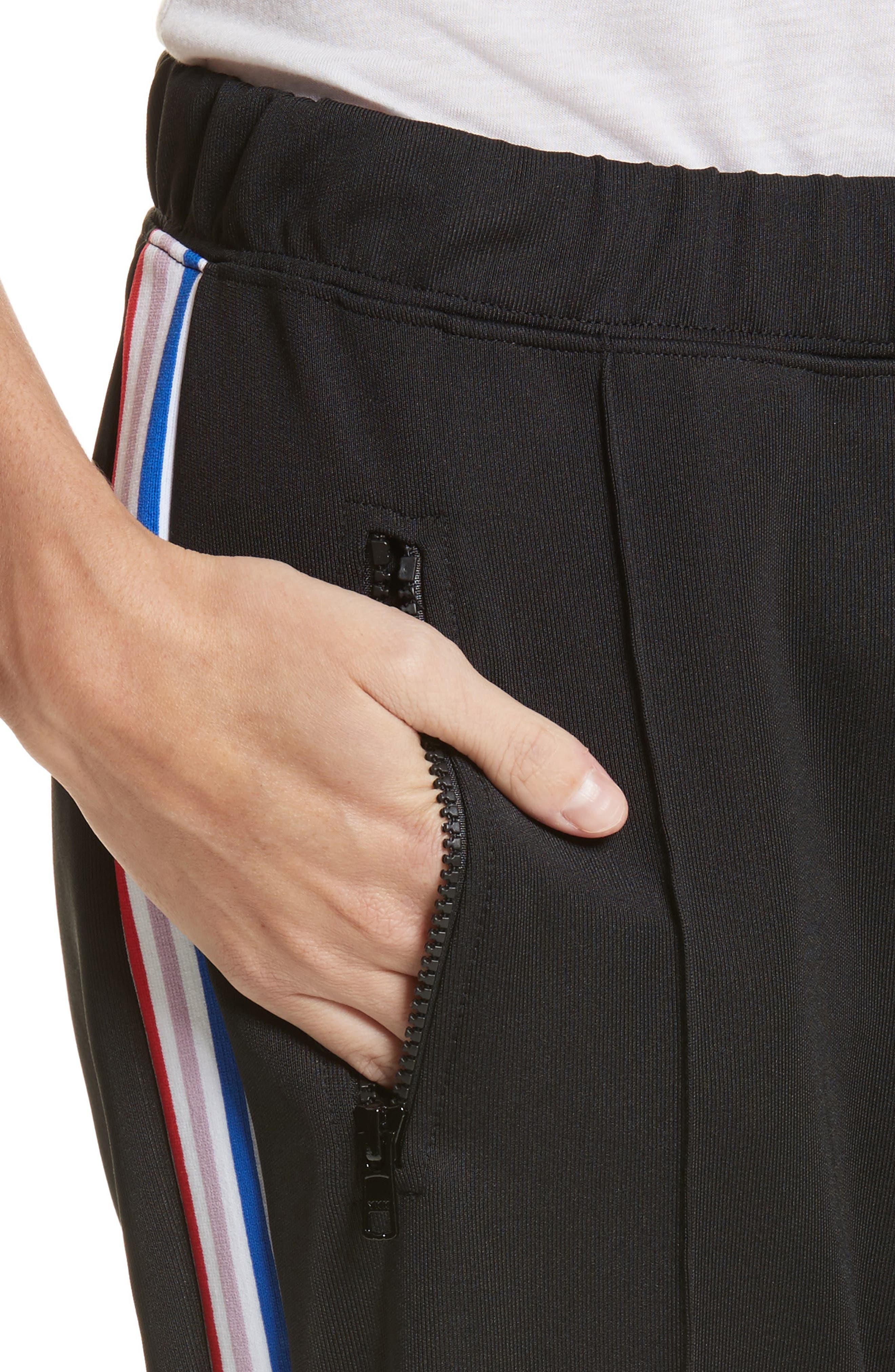 être cécile Rib Crop Track Pants,                             Alternate thumbnail 4, color,                             Black