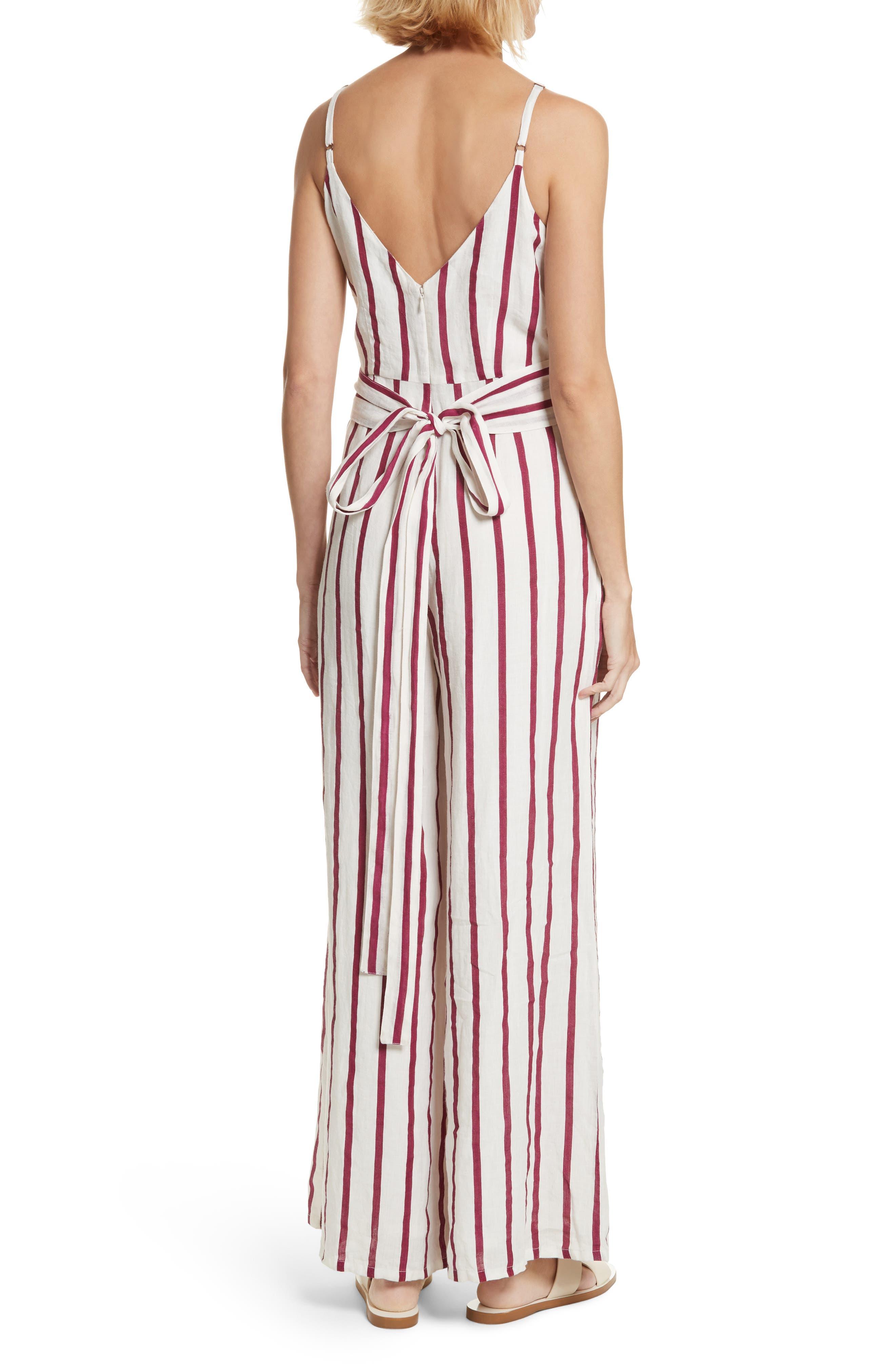 Lisa Stripe Jumpsuit,                             Alternate thumbnail 2, color,                             Off White/ Burgundy