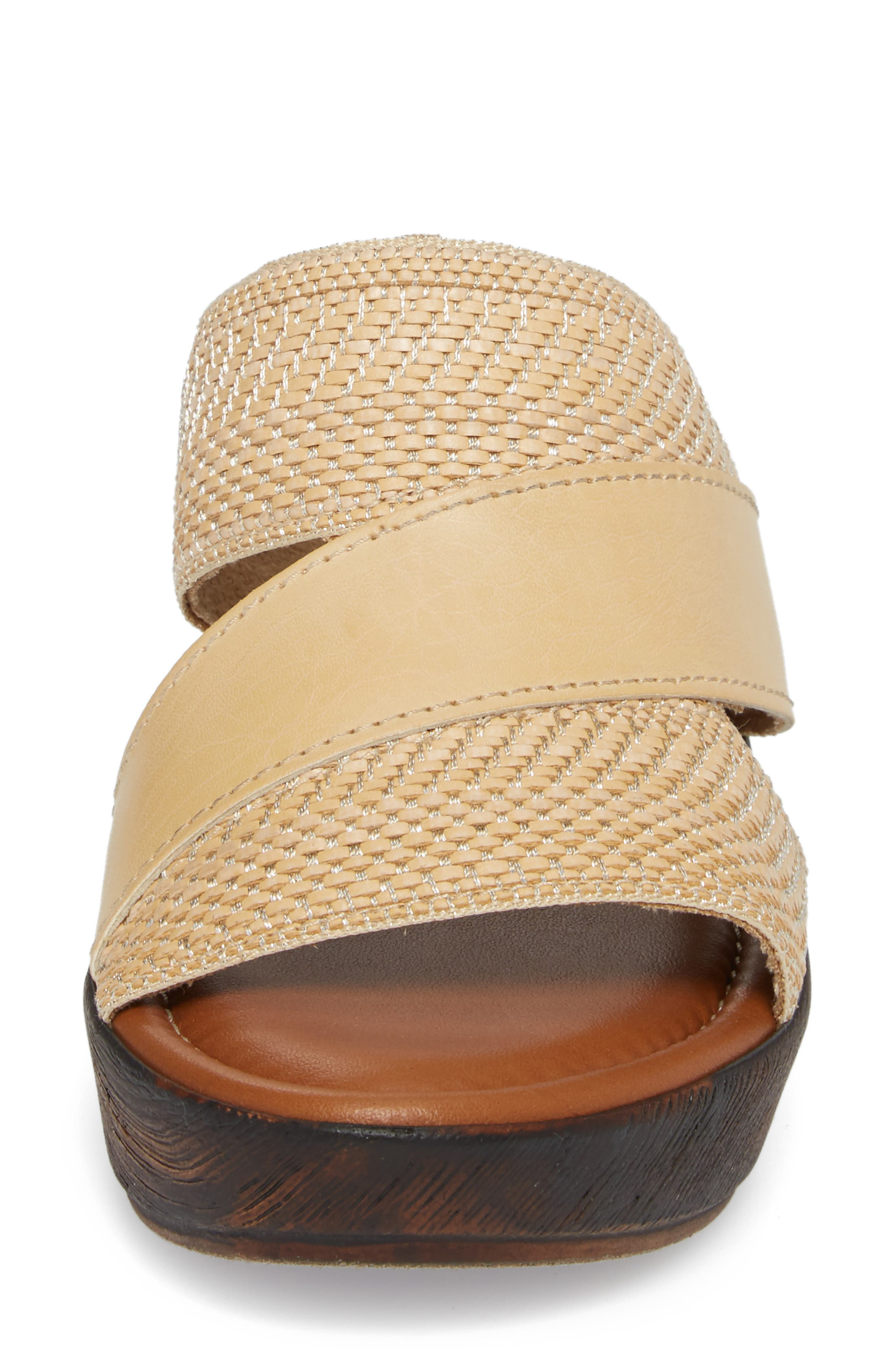 by Easy Street<sup>®</sup> Positano Sandal,                             Alternate thumbnail 4, color,                             Beige/ Woven Faux Leather