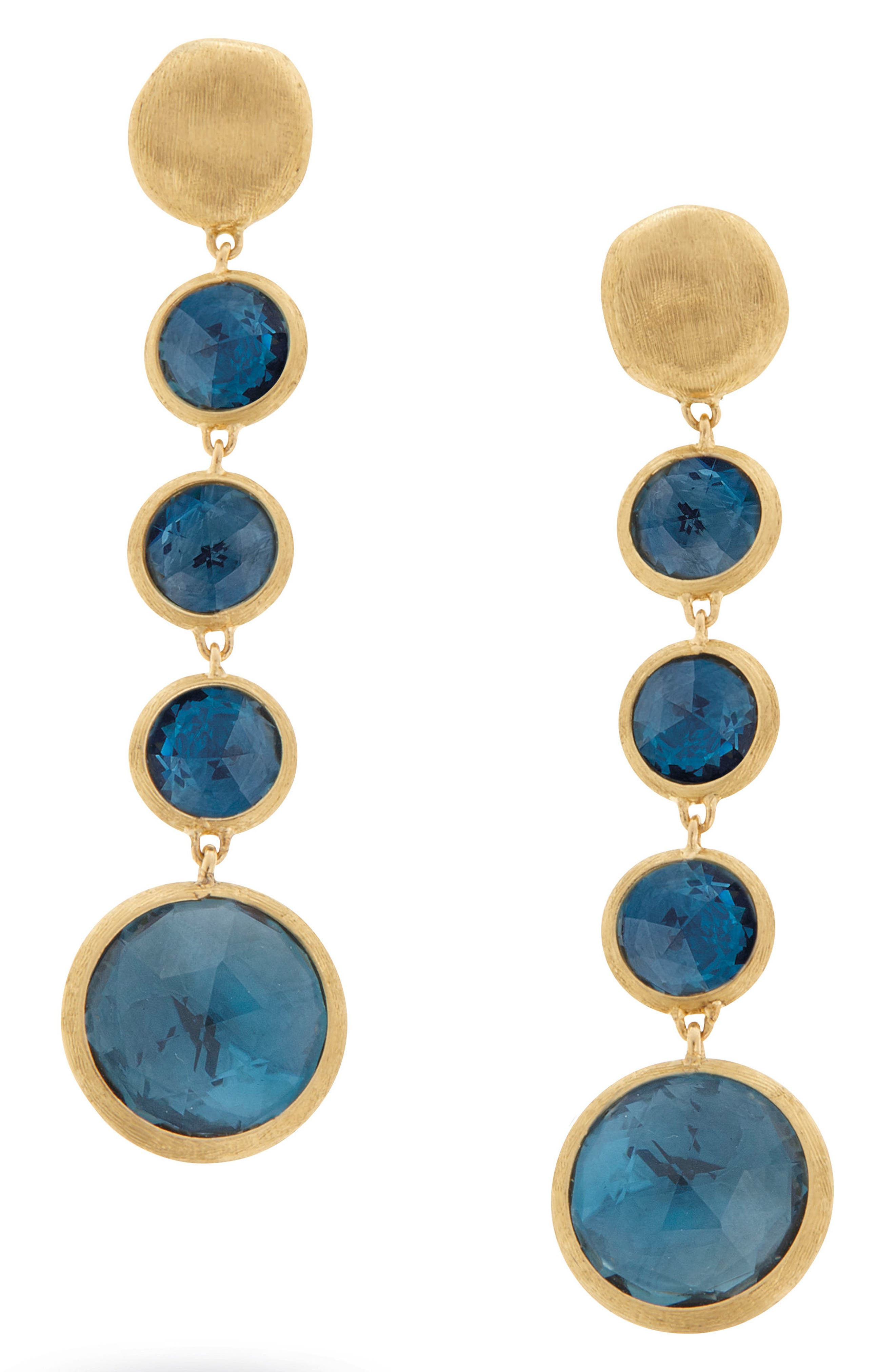 'Jaipur' Semiprecious Stone Linear Earrings,                         Main,                         color, Yellow Gold/ Blue Topaz