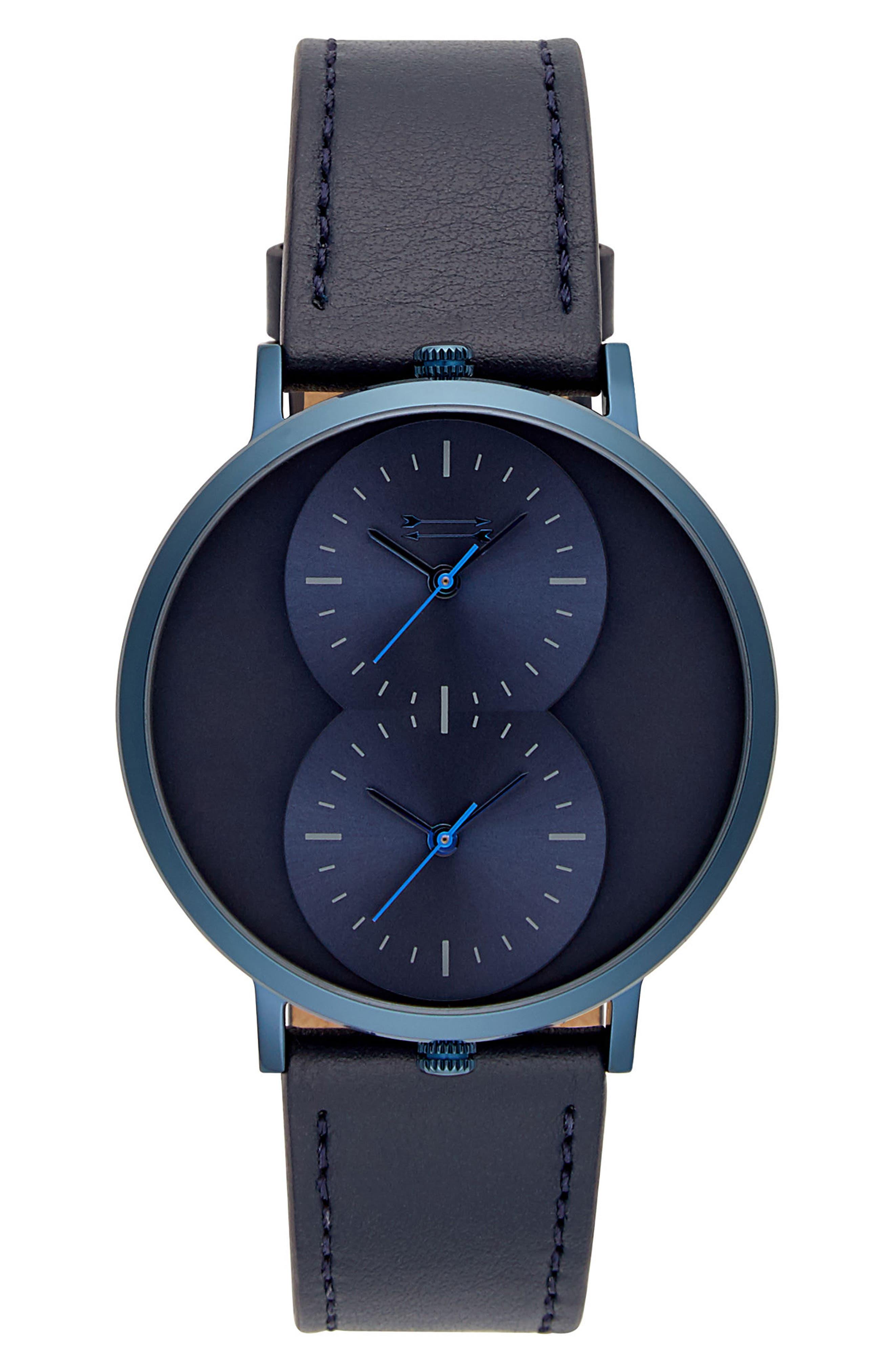 Uri Minkoff Griffith Leather Strap Watch, 43mm