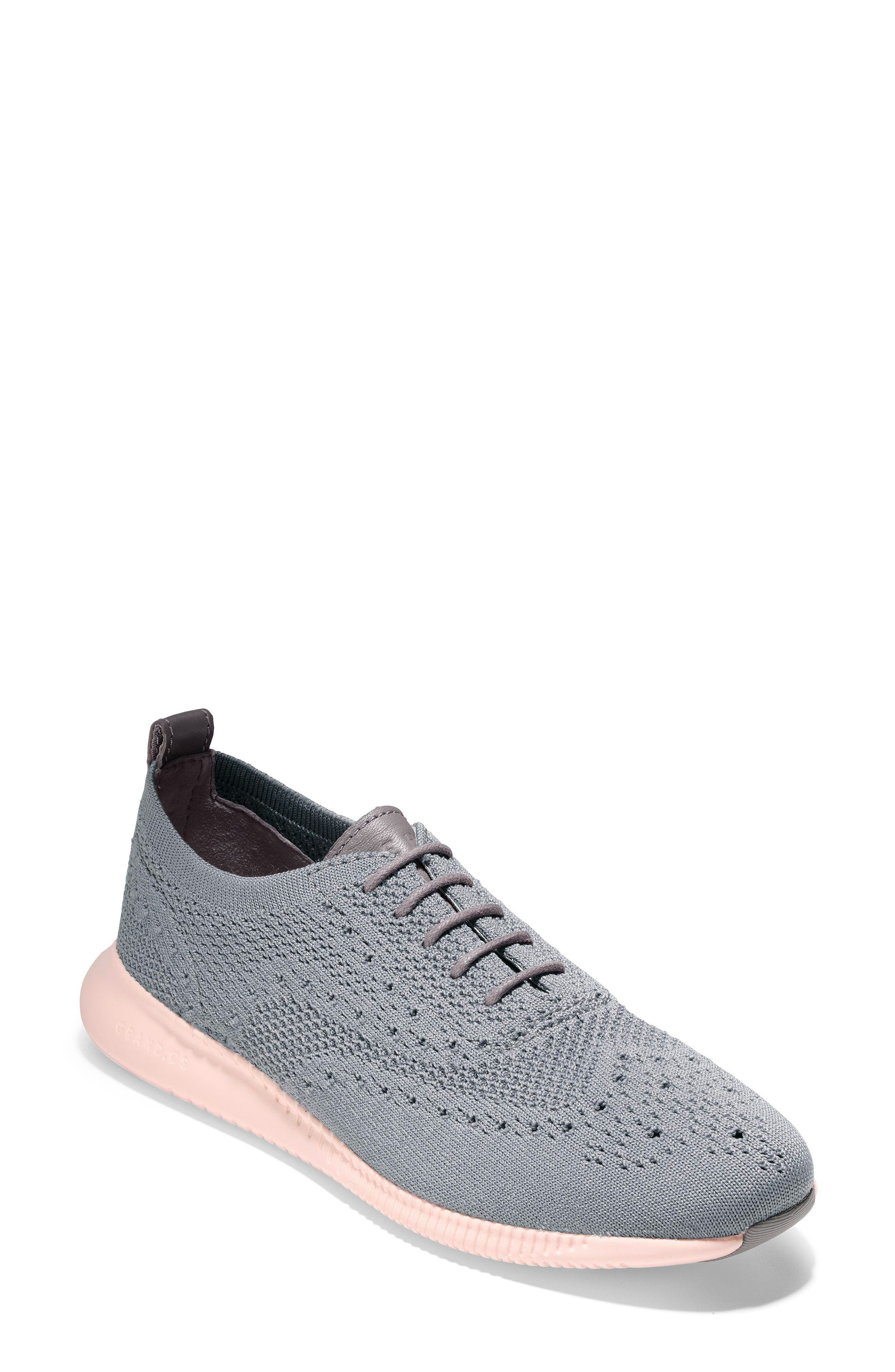 2.ZERØGRAND Stitchlite Wingtip Sneaker,                         Main,                         color, Ironstone Knit Fabric
