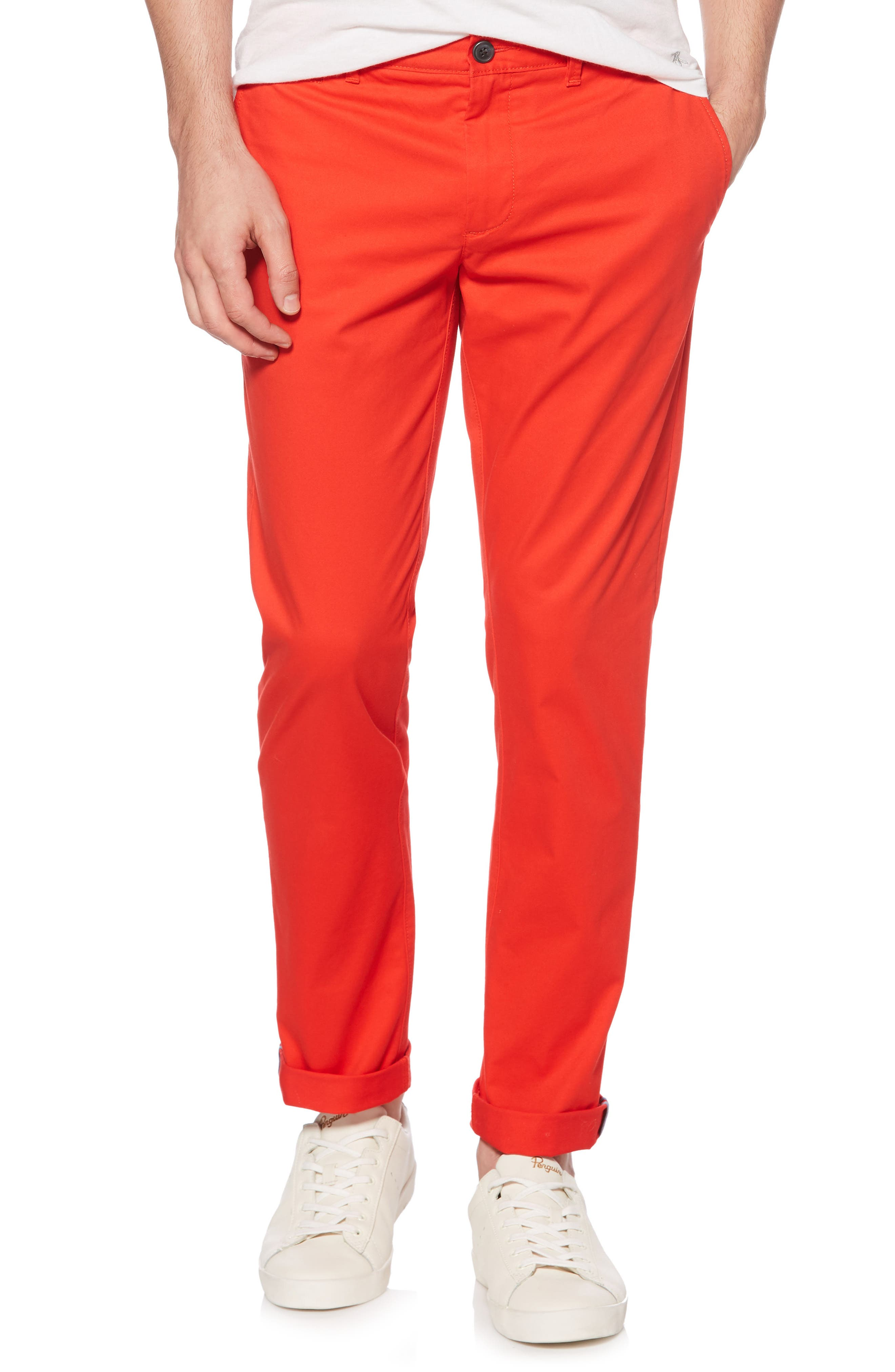P55 Slim Stretch Chinos,                         Main,                         color, Flame Scarlet