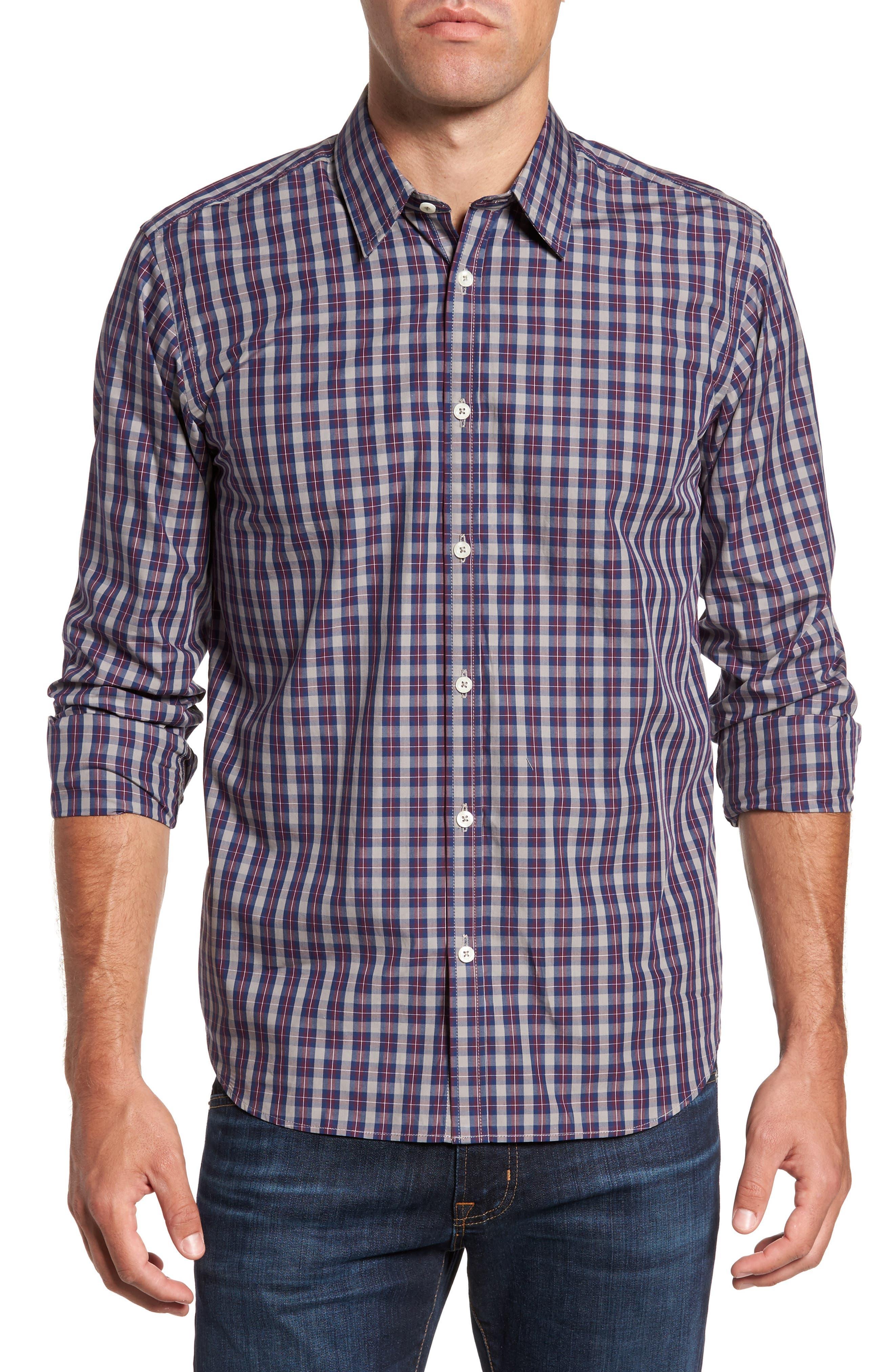 Regular Fit Plaid Sport Shirt,                             Main thumbnail 1, color,                             Burgundy