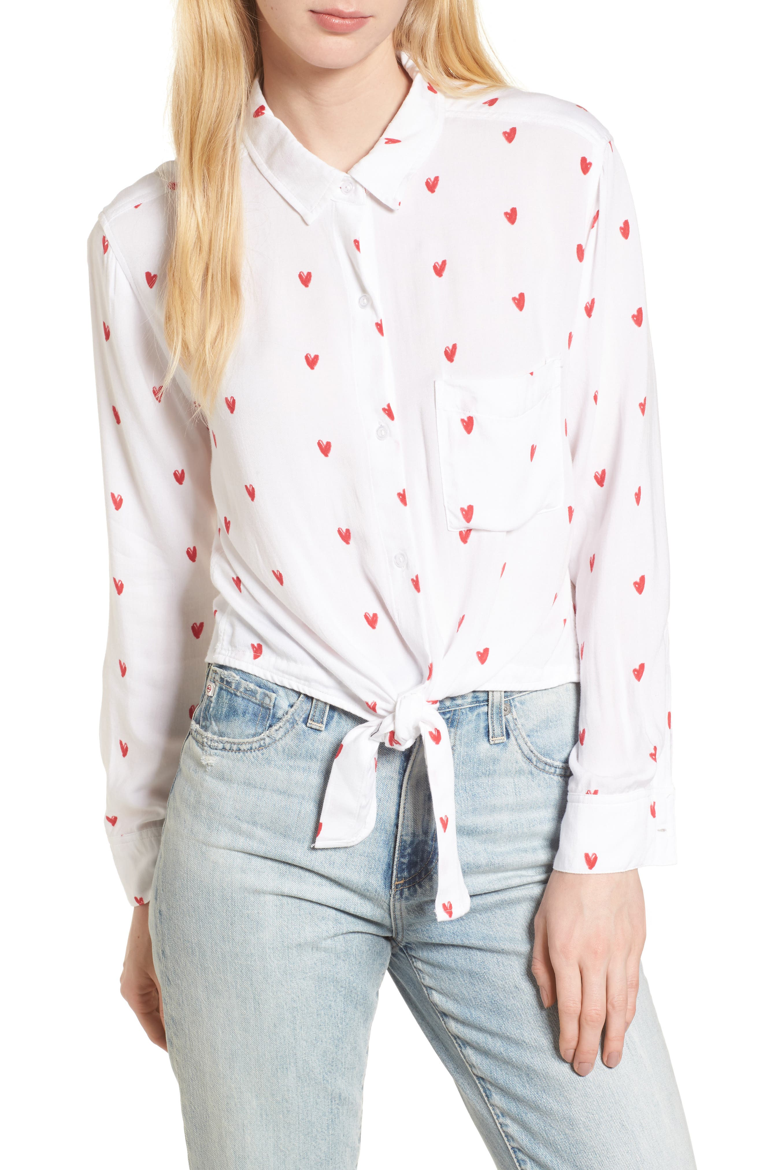 Val Tie Front Shirt,                         Main,                         color, Lipstick Hearts