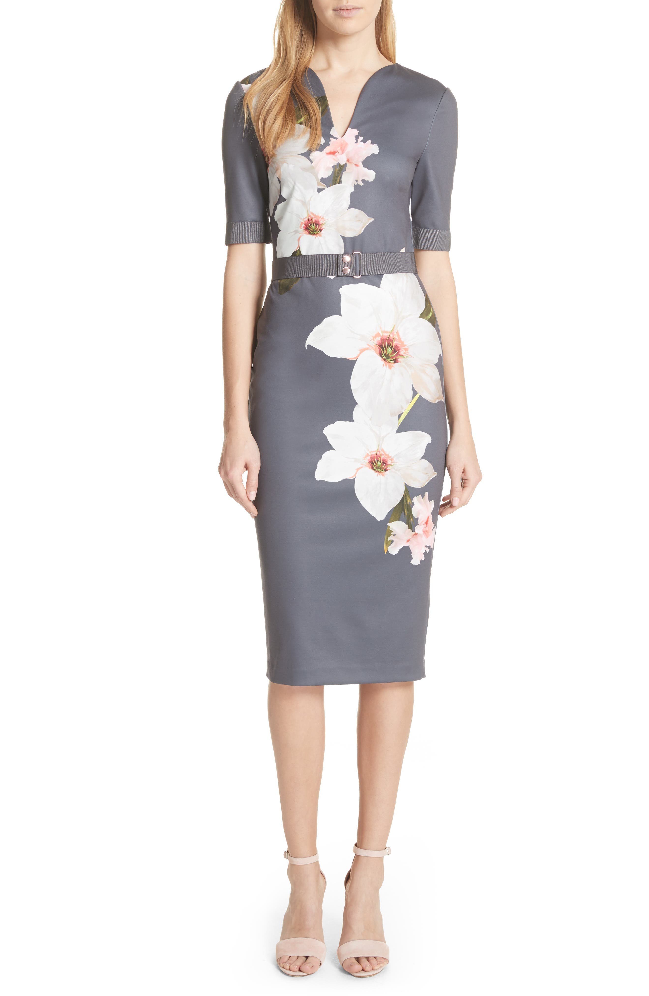 Floral Print Belted Body-Con Dress,                             Main thumbnail 1, color,                             Grey