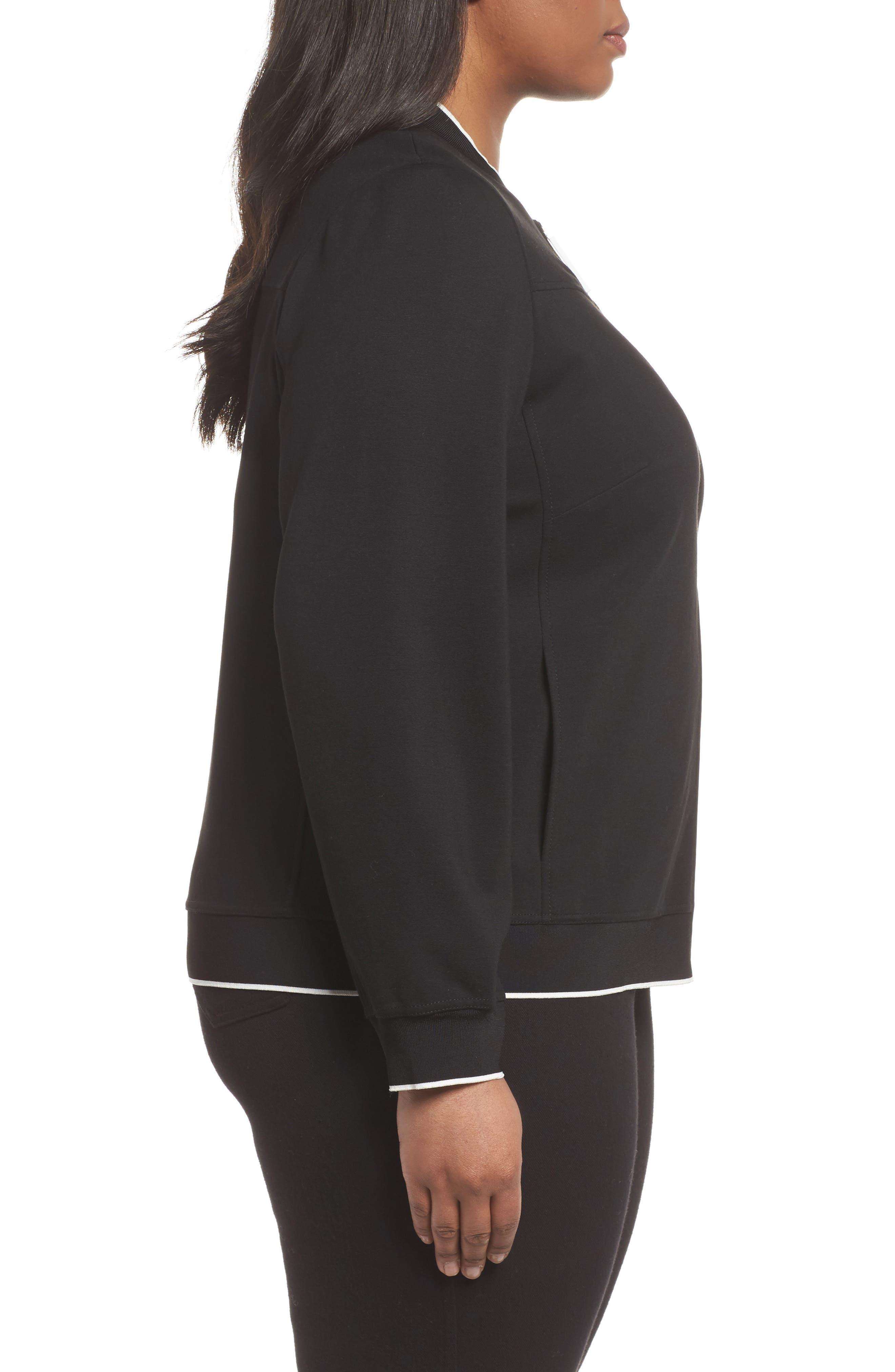 Alison Zip Front Jacket,                             Alternate thumbnail 3, color,                             Black