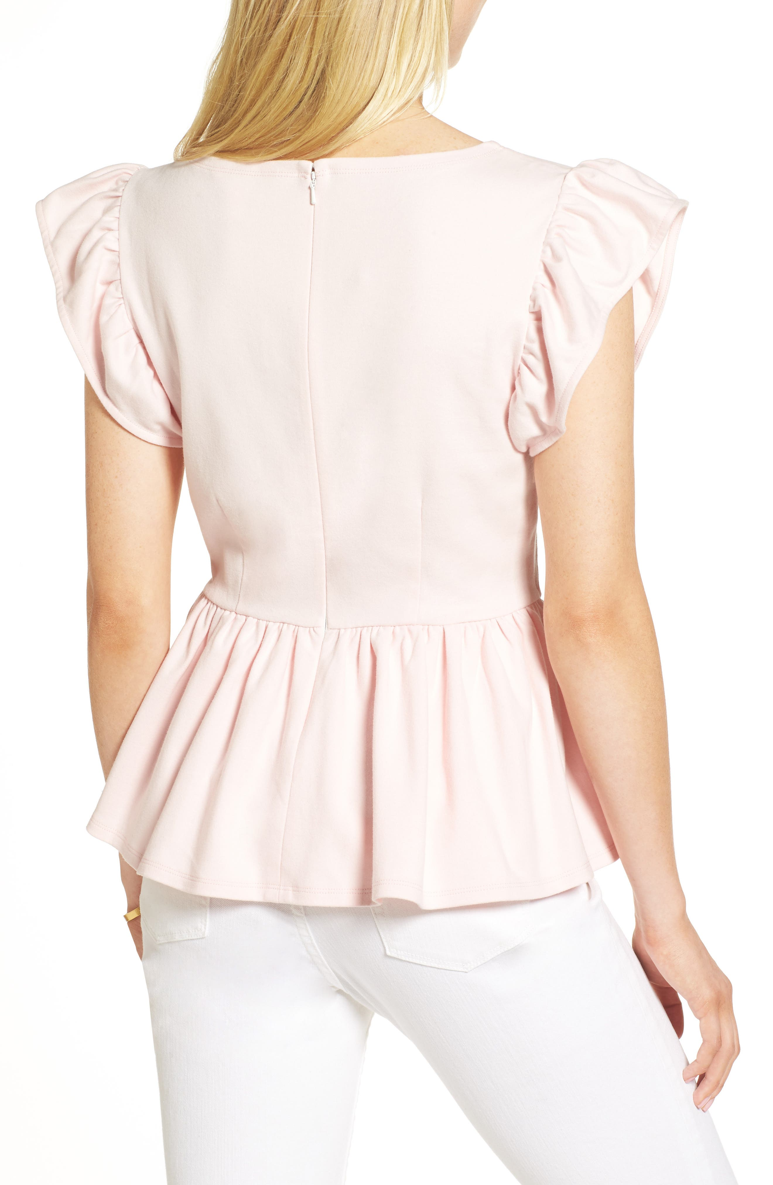 Stripe Knit Peplum Top,                             Alternate thumbnail 2, color,                             Pink Potpourri