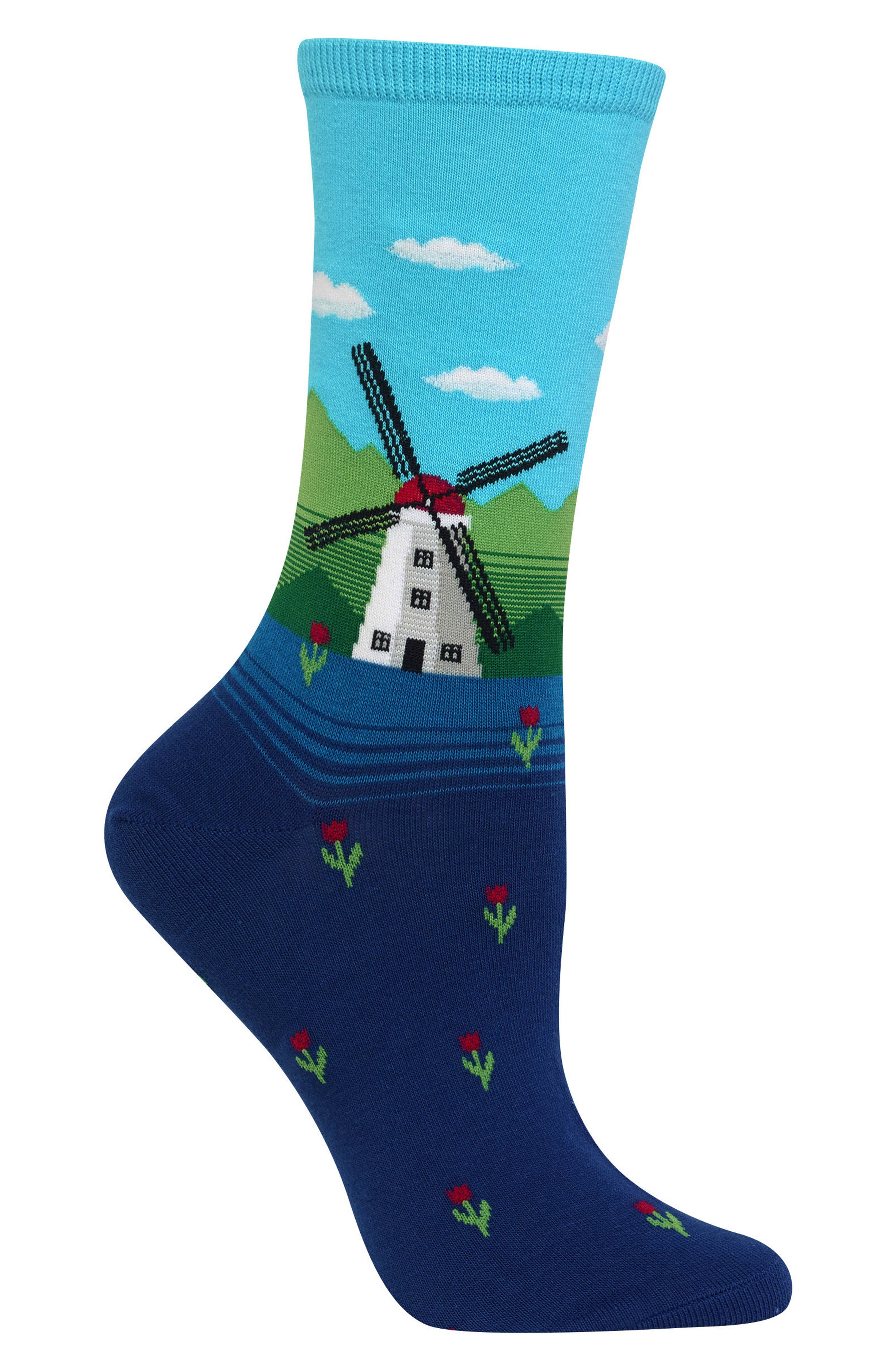 Windmill Crew Socks,                             Alternate thumbnail 3, color,                             Light Blue