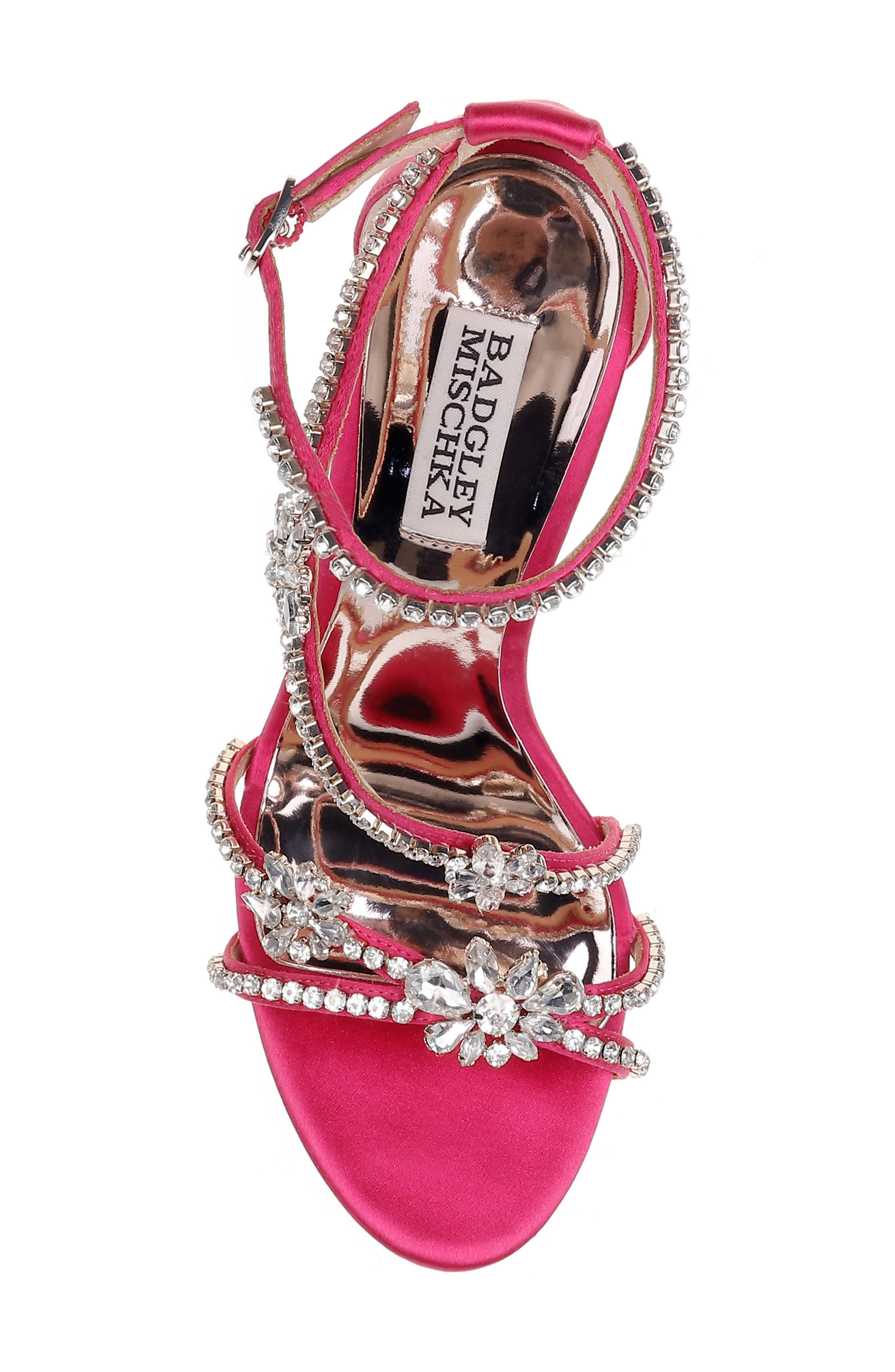 Hodge Strappy Sandal,                             Alternate thumbnail 5, color,                             Hot Fuchsia Satin
