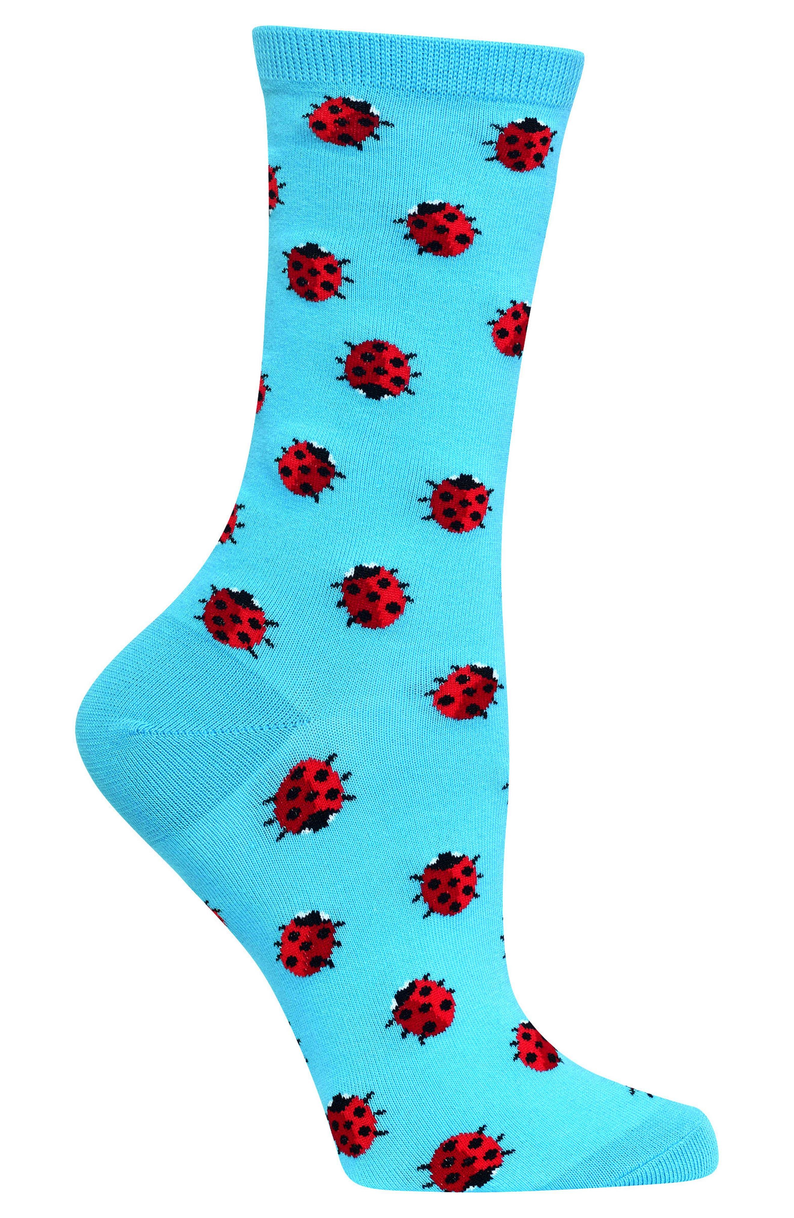 Ladybug Crew Socks,                             Alternate thumbnail 3, color,                             Light Blue