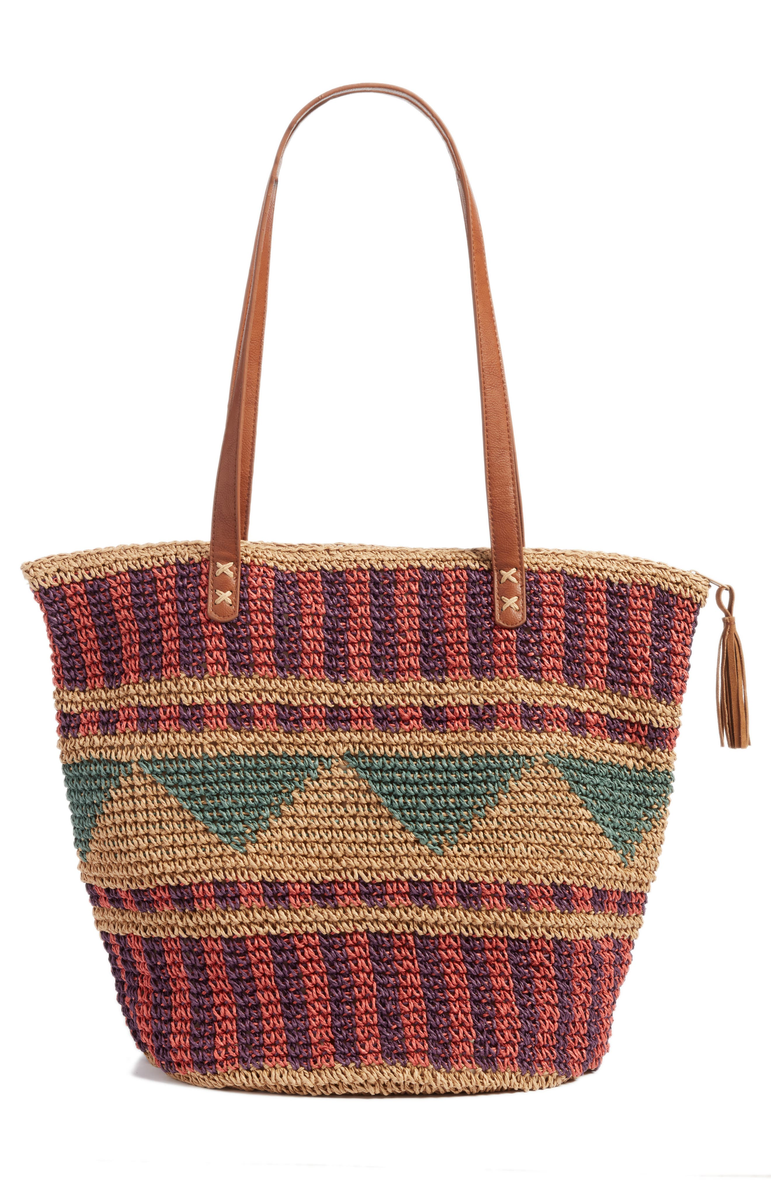 East of Dover Print Straw Tote,                             Alternate thumbnail 3, color,                             Rosewater