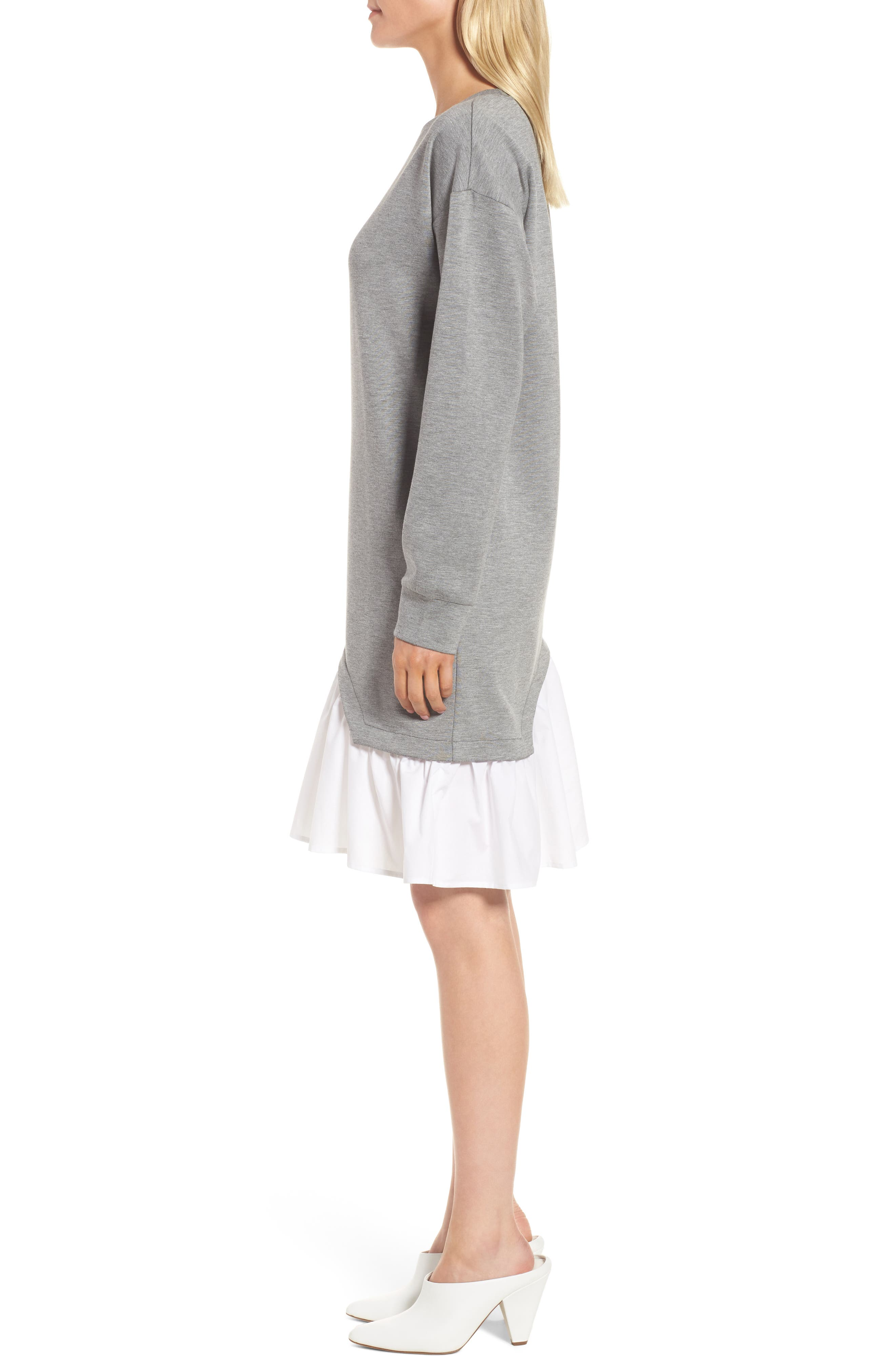 Mixed Media Sweatshirt Dress,                             Alternate thumbnail 4, color,                             Grey Heather